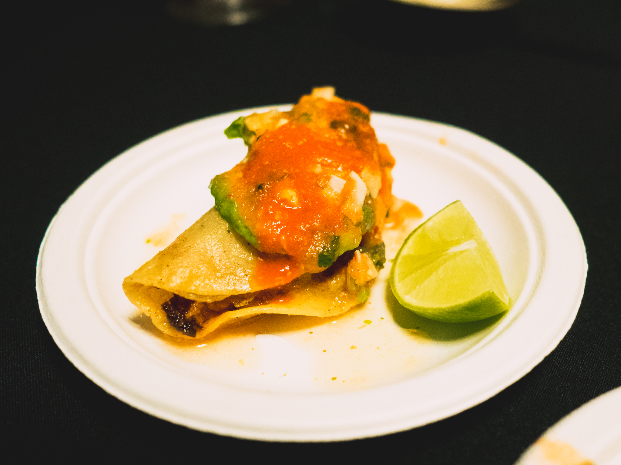 marisco jalisco's  crispy shrimp tacos , with avocado and tomato and cabbage salsa.
