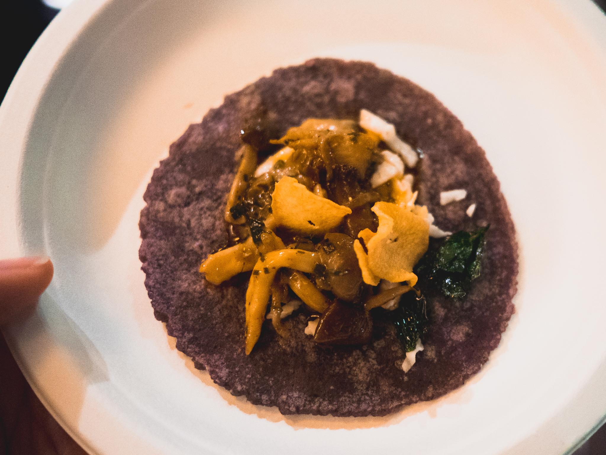b.s. taqueria's  mushroom and garlic taco  with chile de arbol.