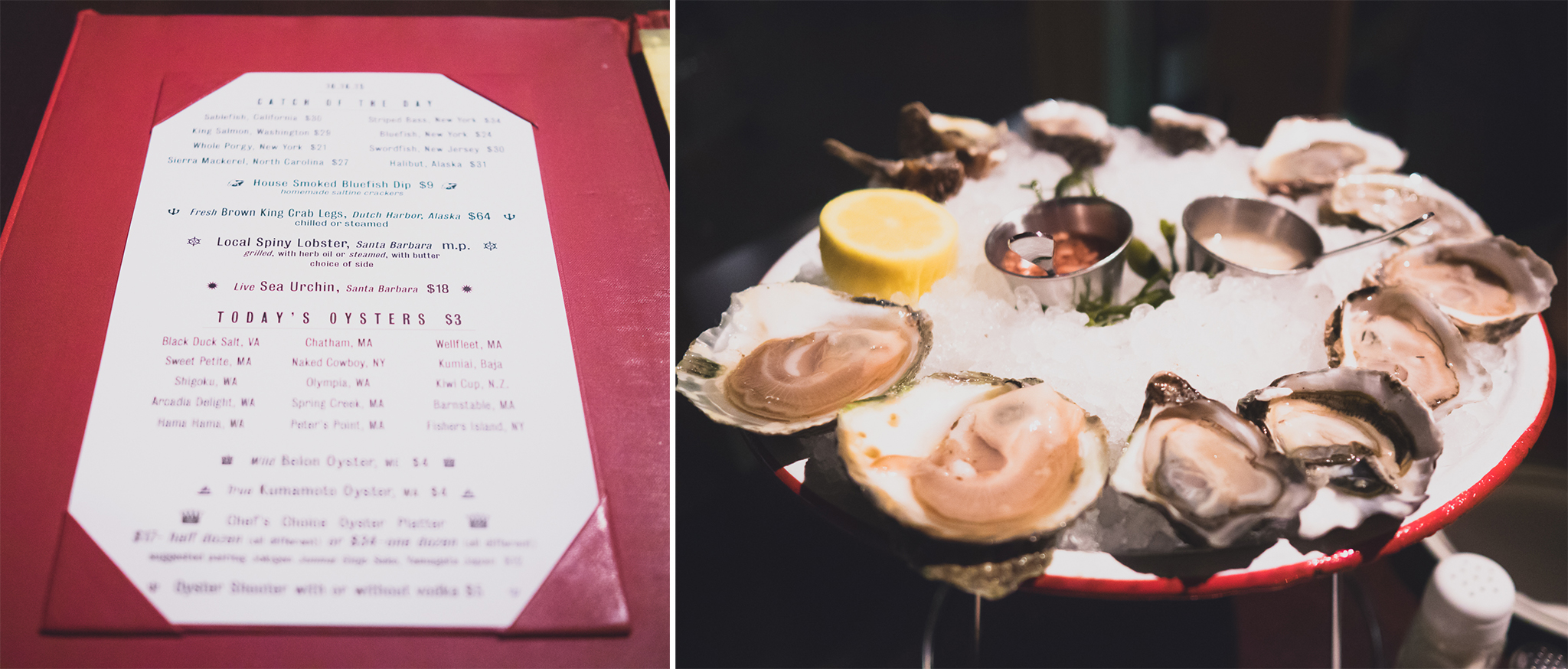 raw and chilled seafood menu; a dozen oysters to share.