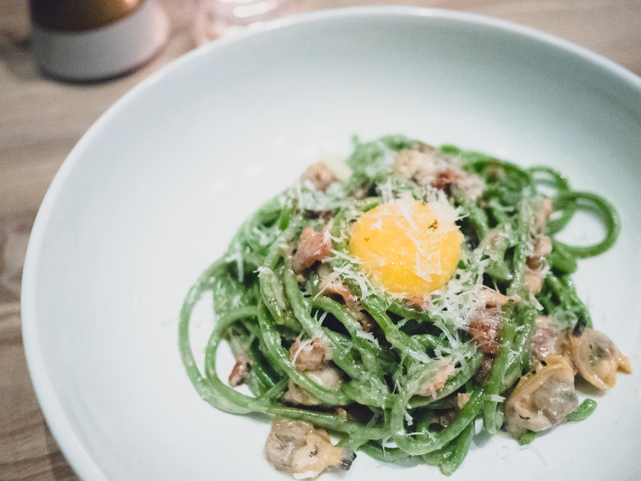 spinach bucatini  with egg, bacon, clam, creme fraiche.