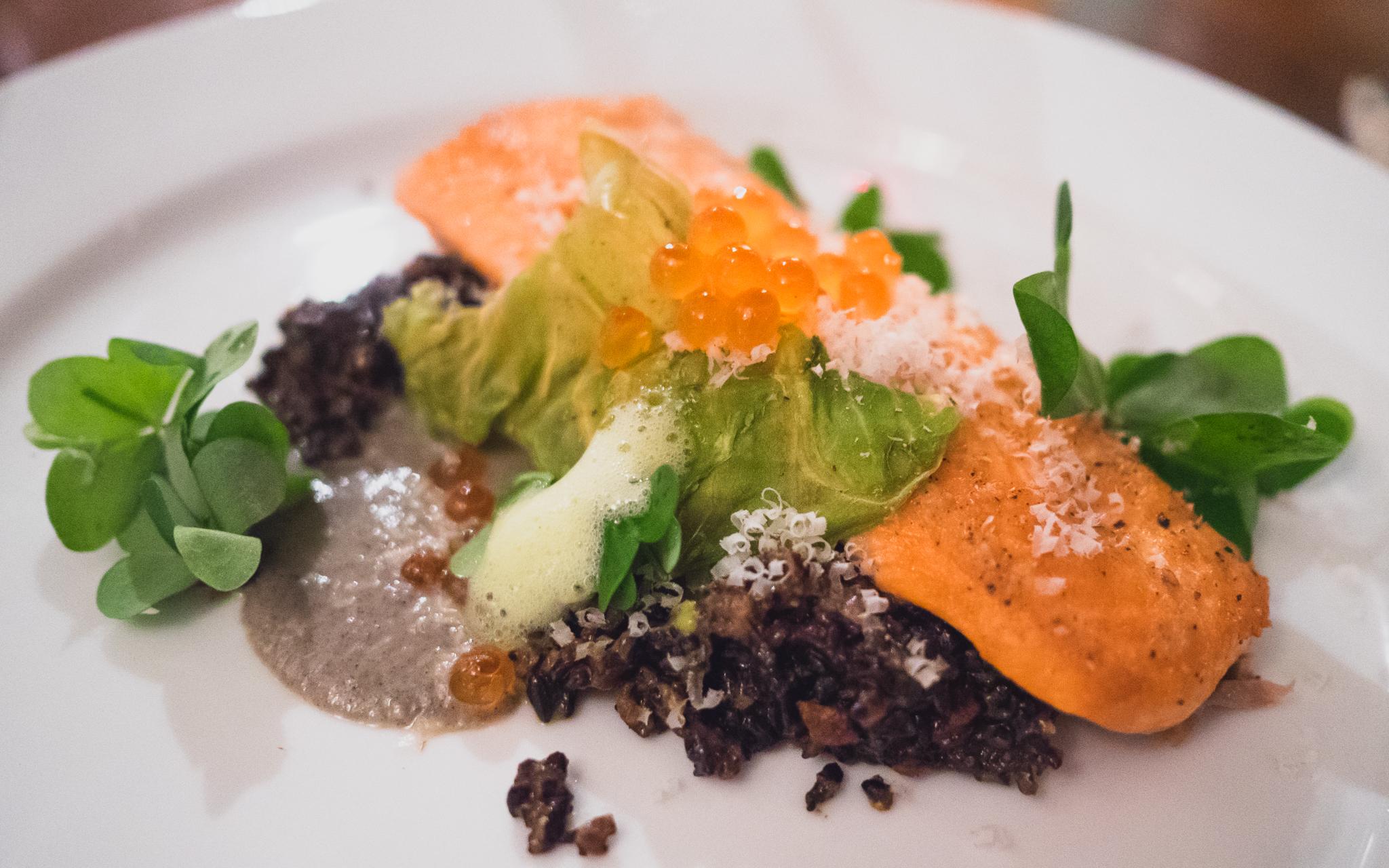 local steelhead, forbidden rice salad, cabbage chip, charred eggplant, roe.