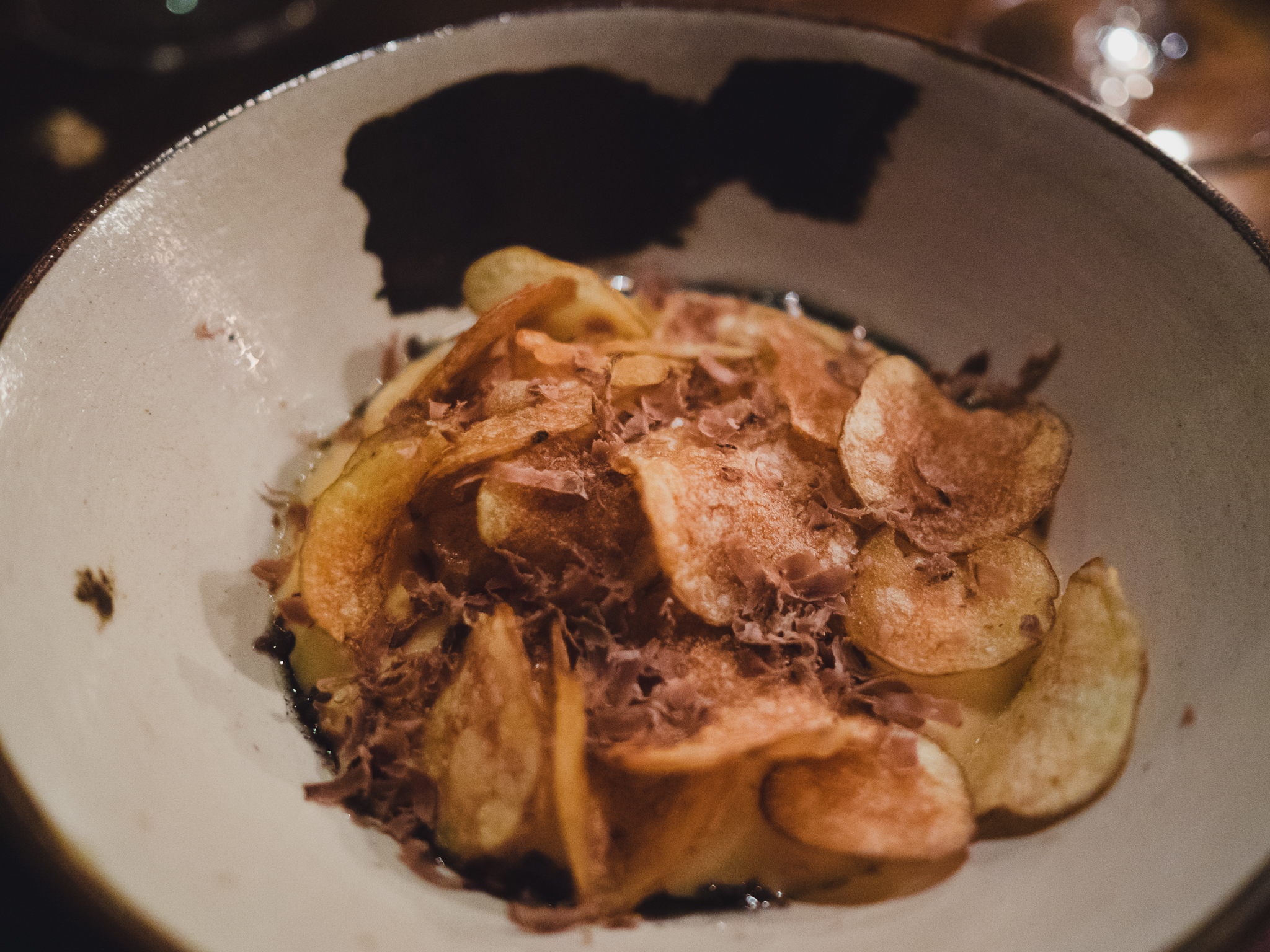 04. carmelized potato, ash-skyr and shaved lamb hearts.