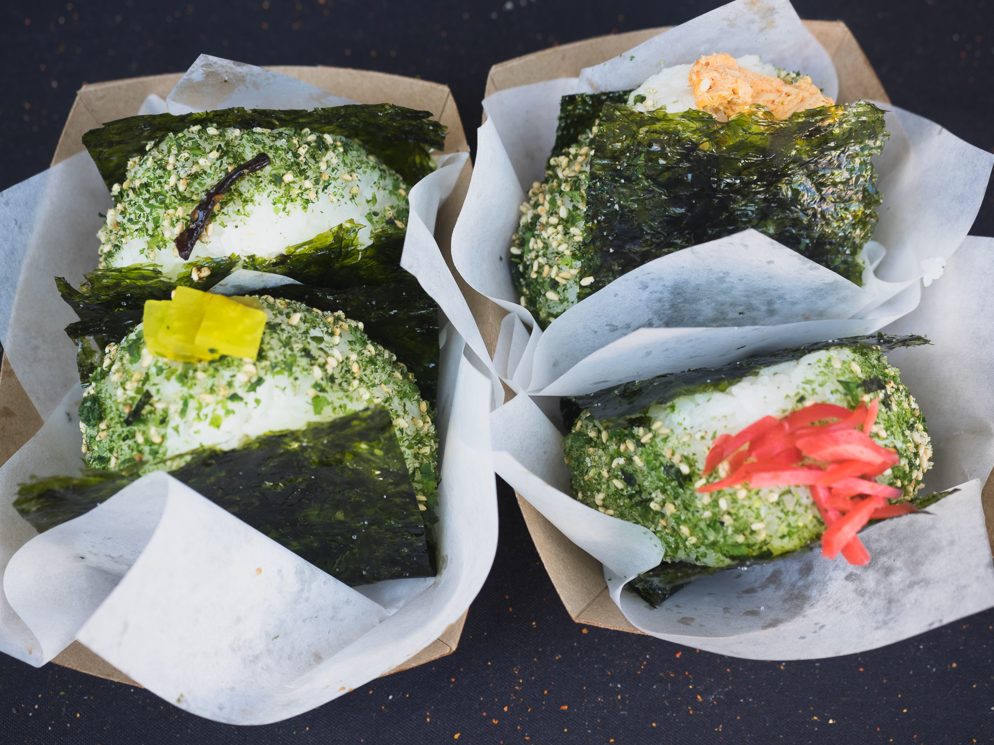 kelp, unagi, spicy tuna and beef musubis.