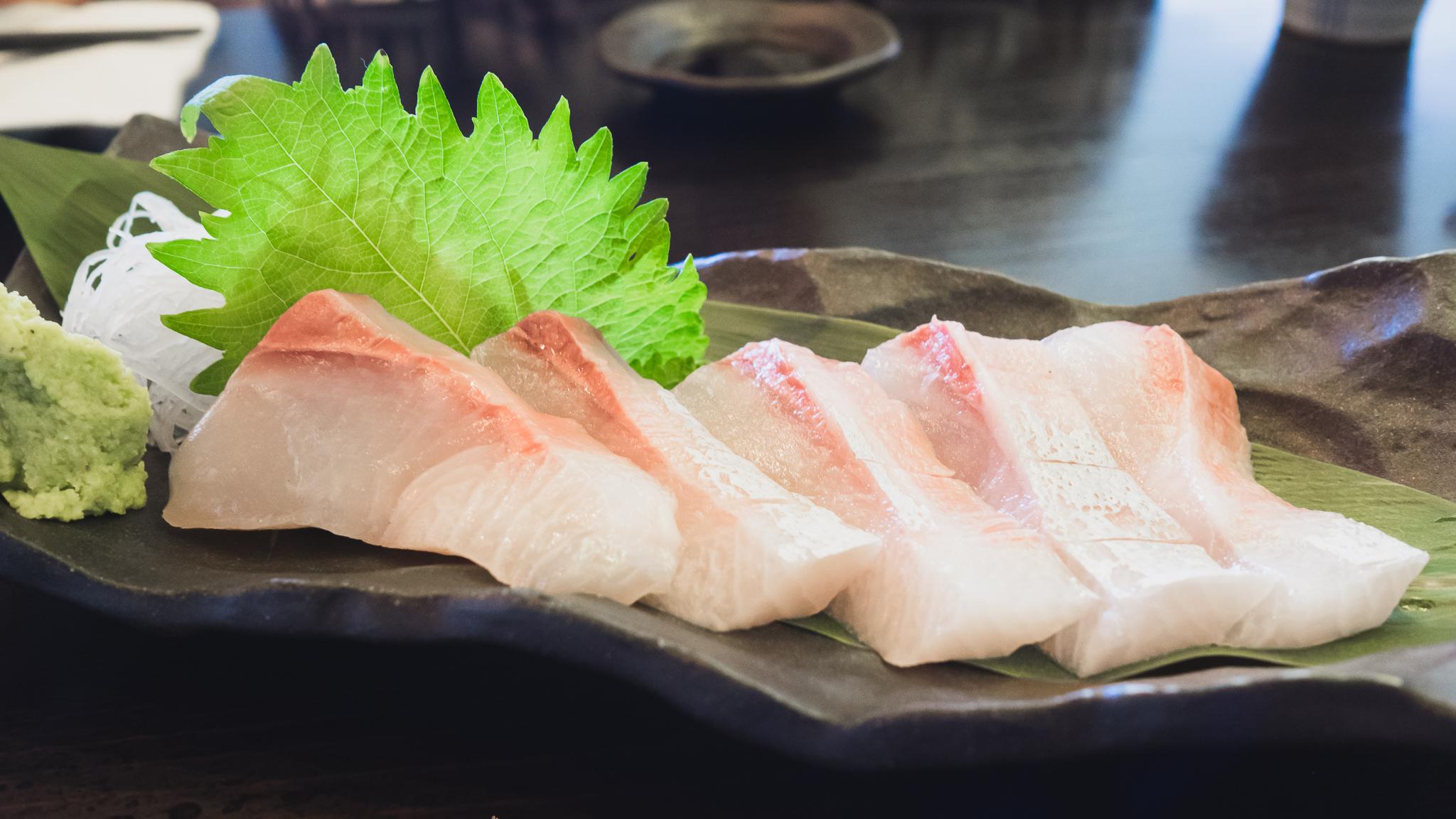 """amberjack """"kanpachi"""" sashimi."""