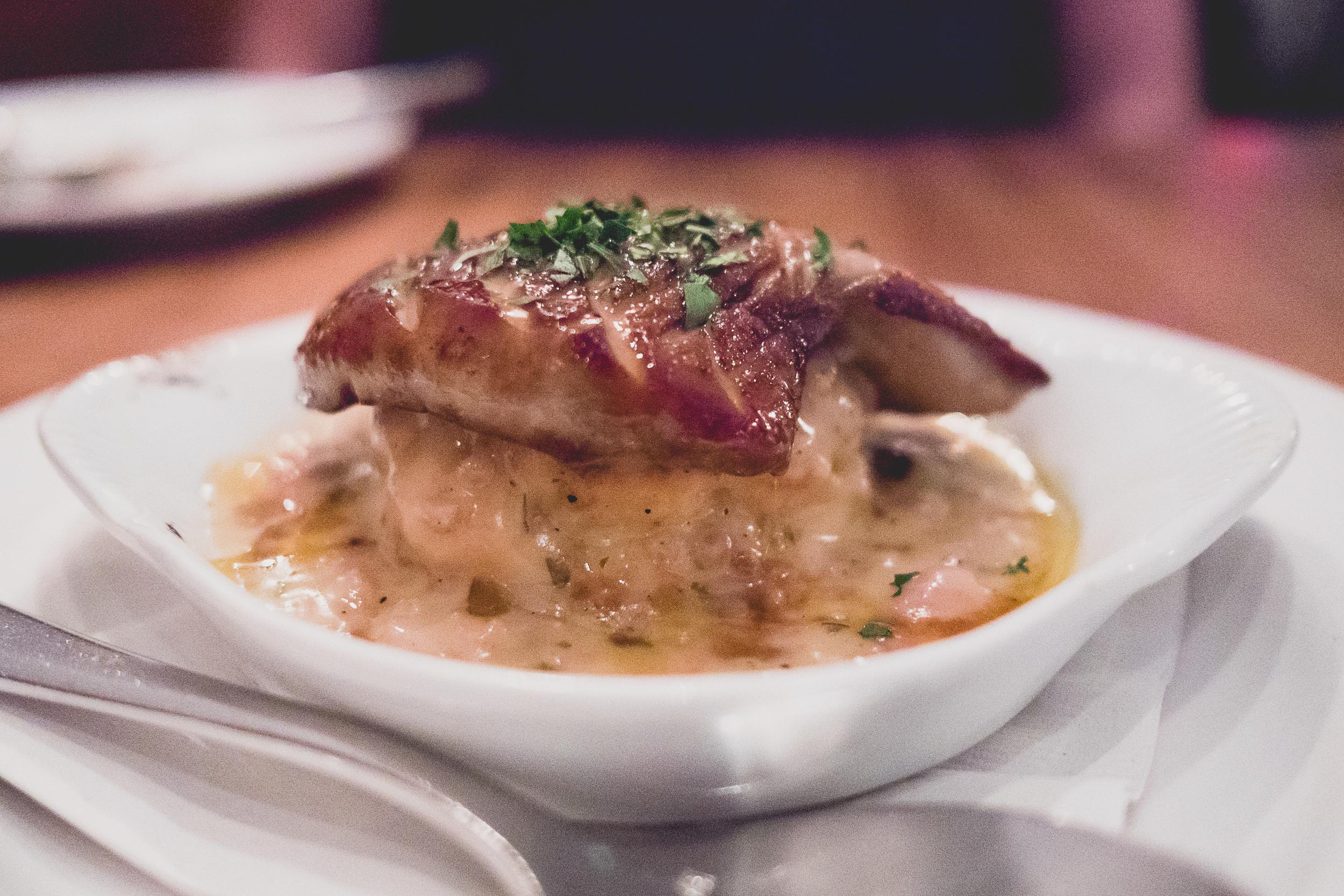 foie gras, biscuit, maple sausage gravy.