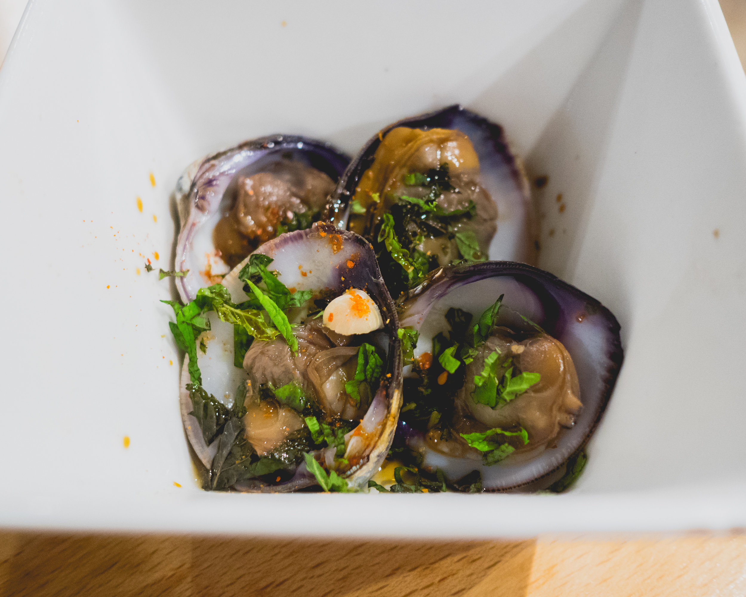II. cold kenting clams / mint / brine