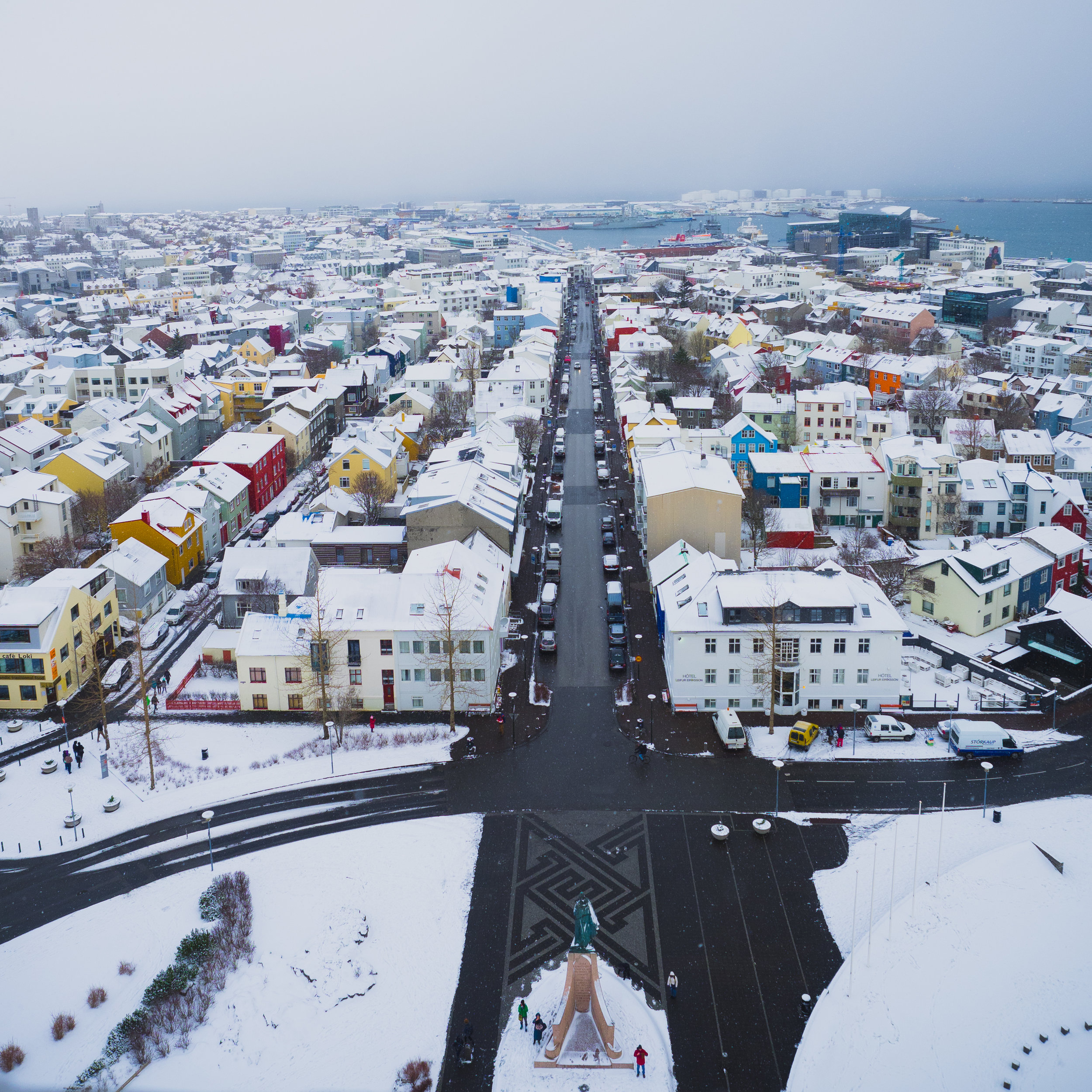 view of the city from the top of hallgrímskirkja.