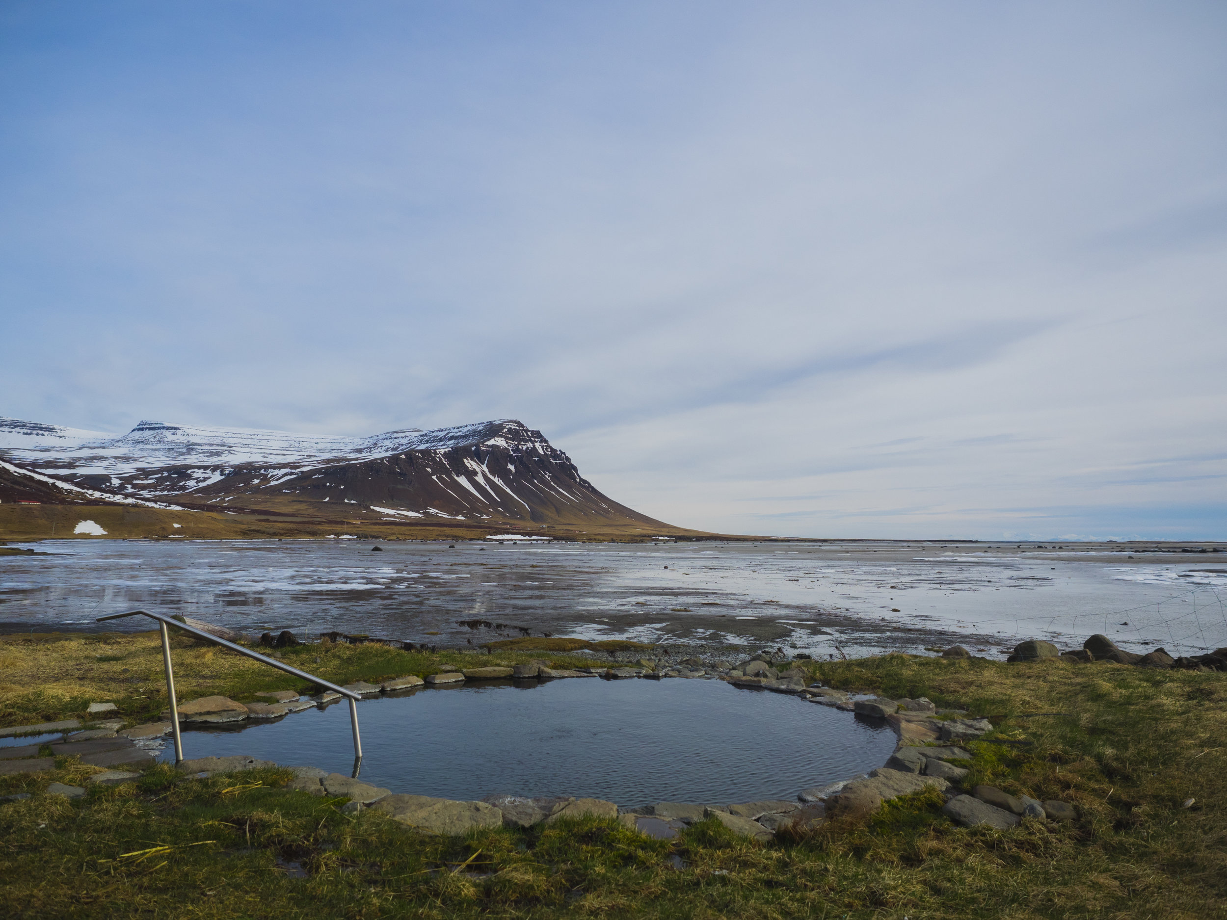 hot spring pool in the westfjords.