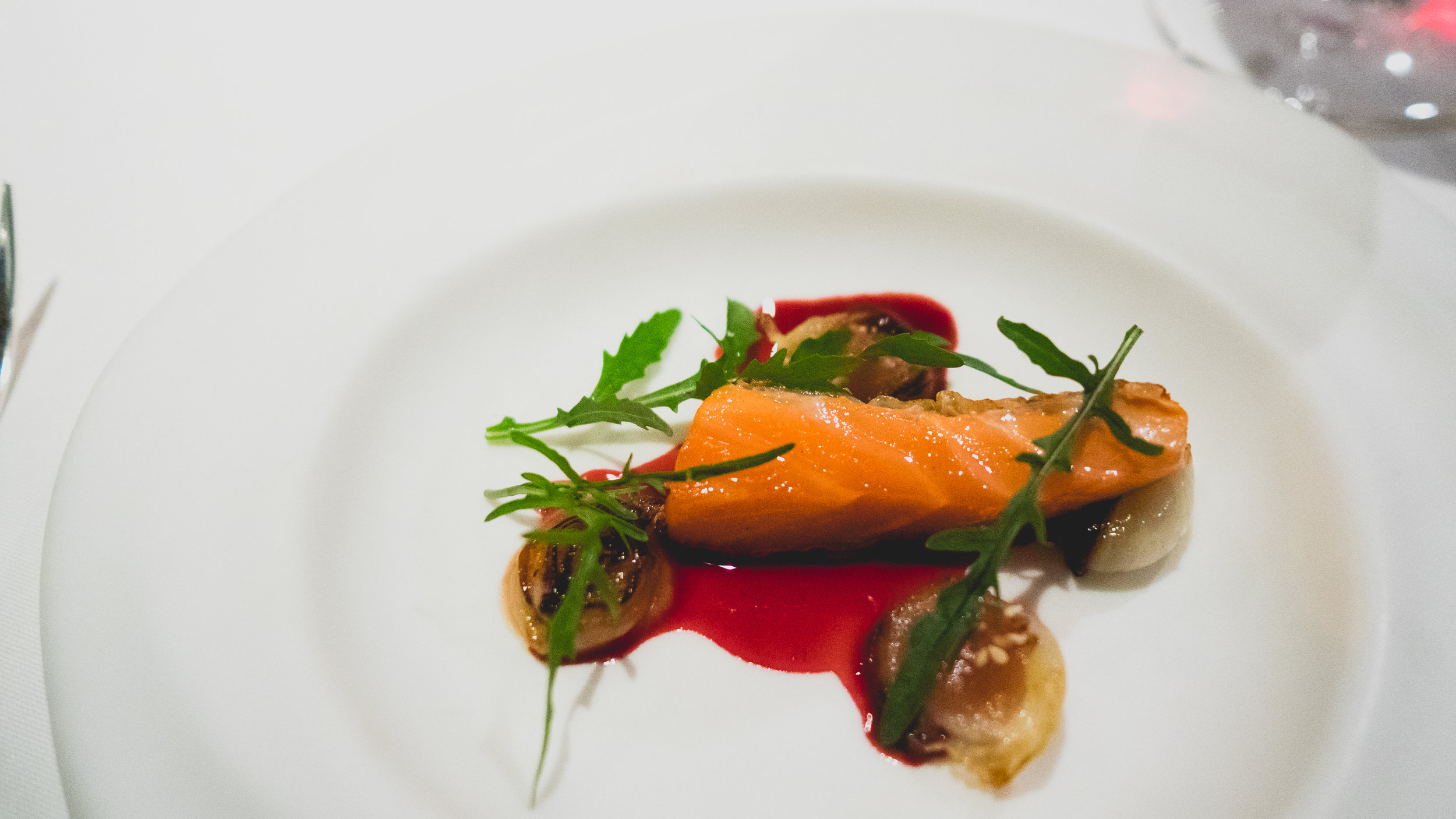 salmon, smoked apple, hibiscus, cipollini.