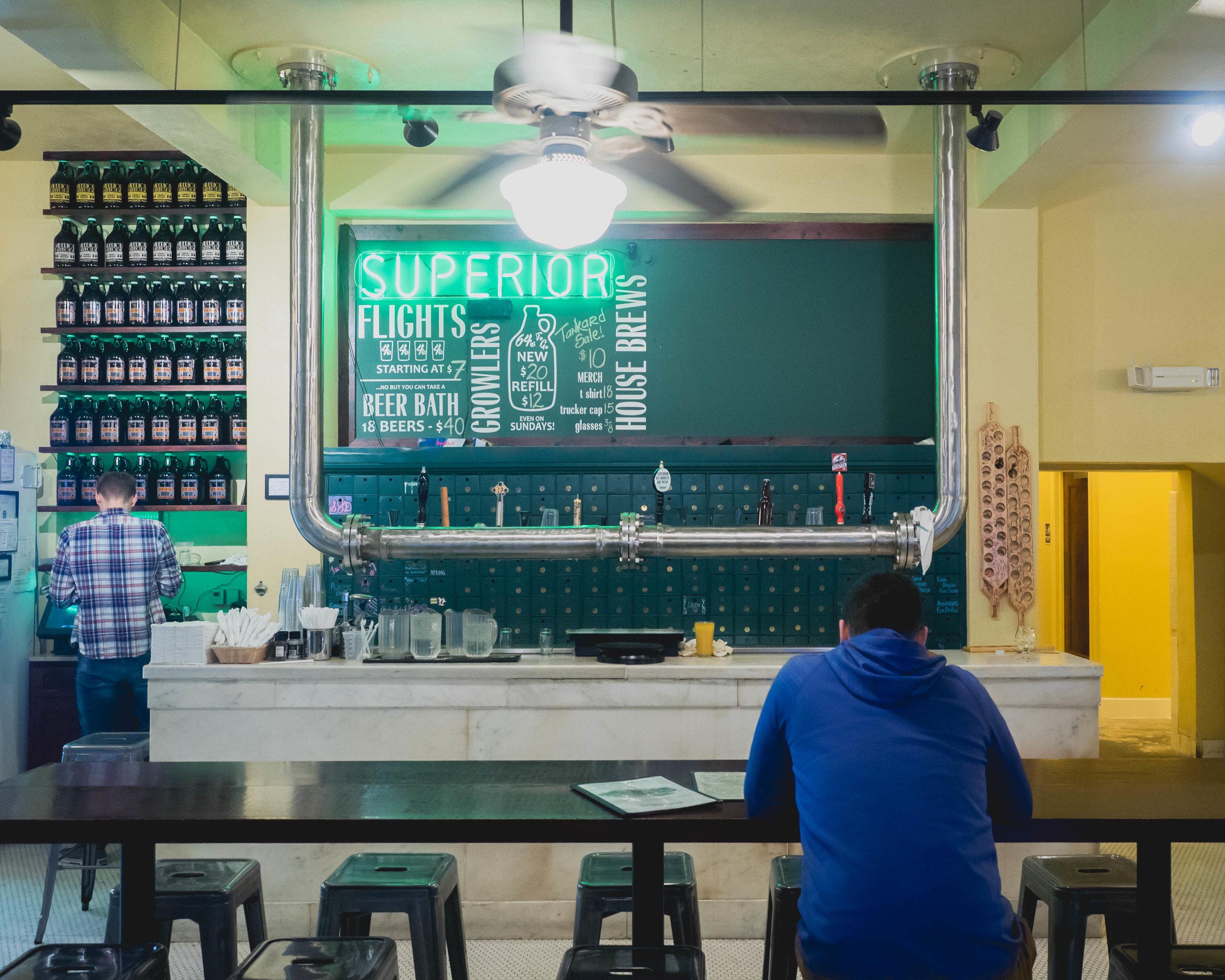 inside superior bathhouse brewery.