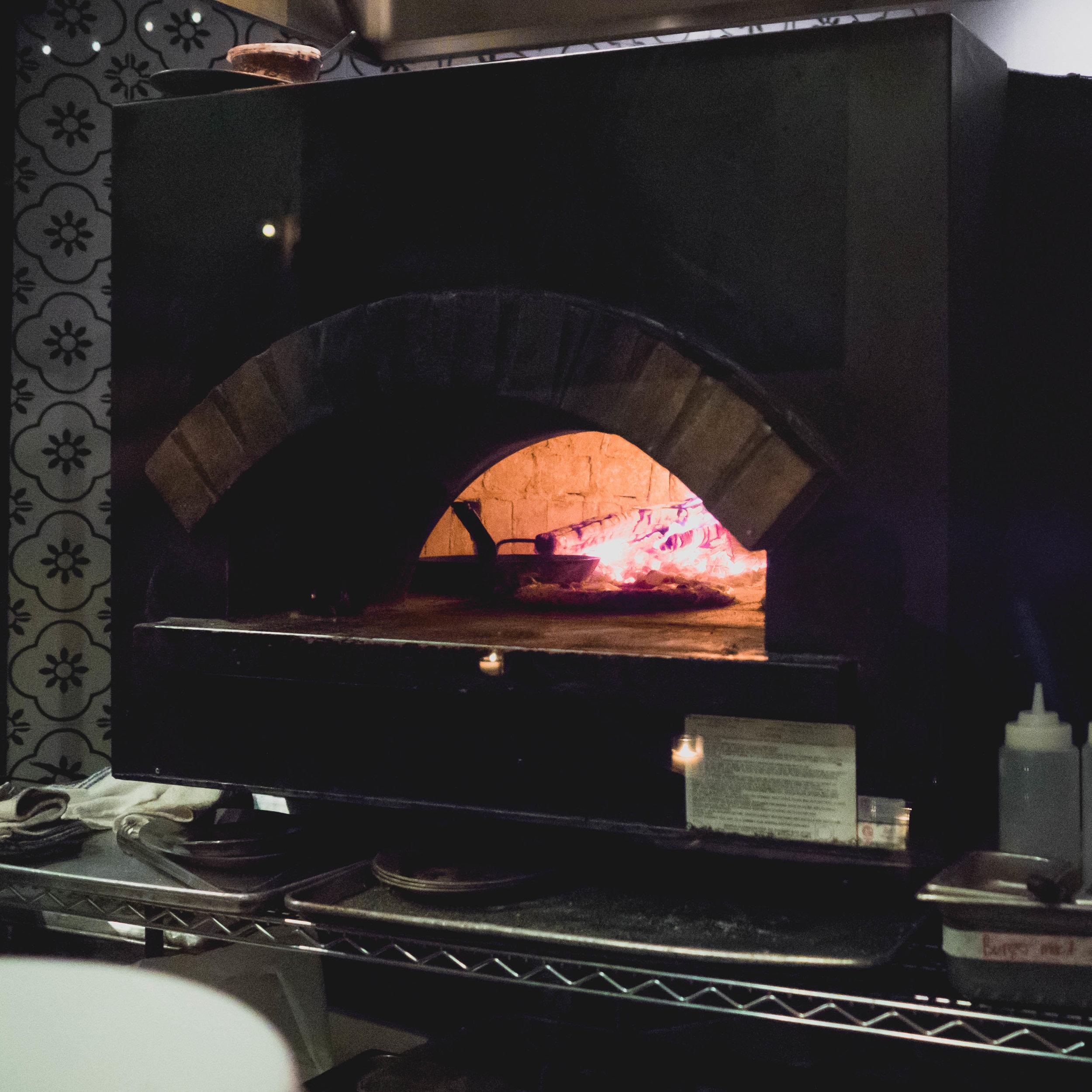 wood burning oven.