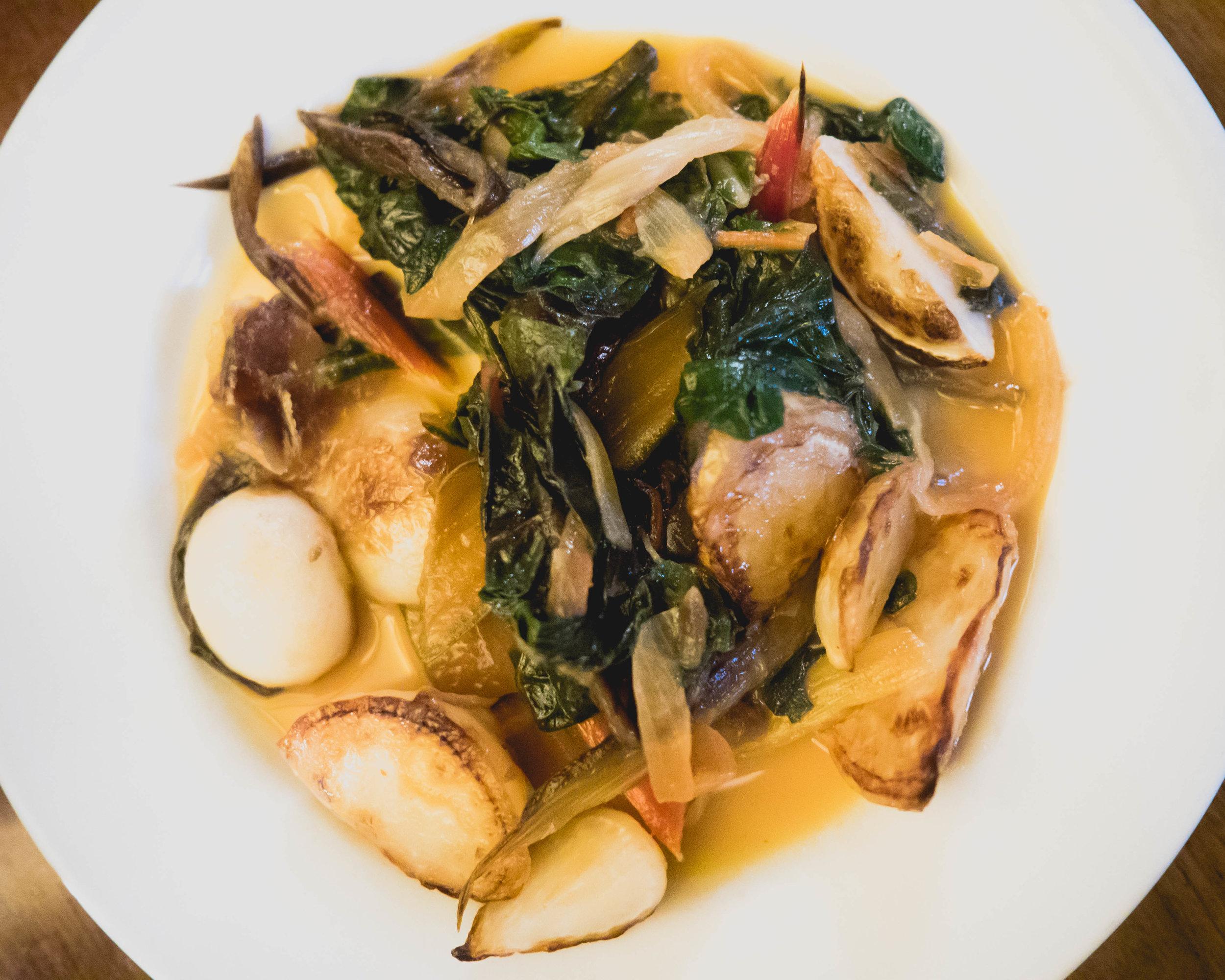 seared turnips, braised swiss chard, sherry vinegar.