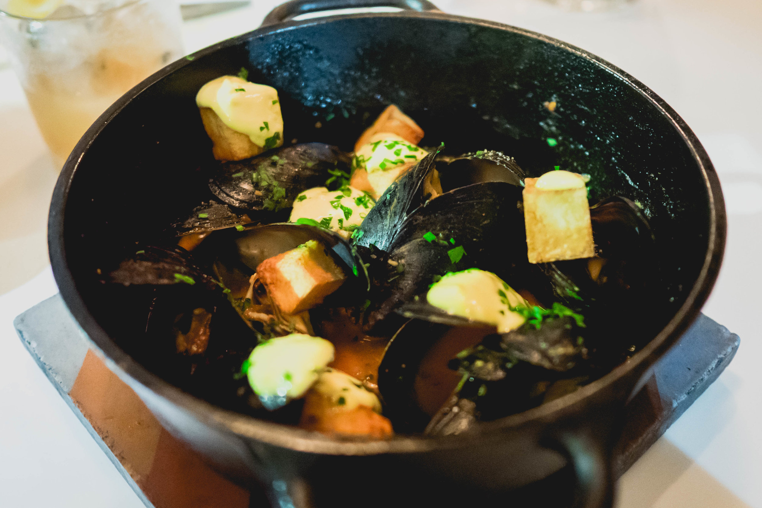 "PEI mussels with ""patatas bravas"" , spicy tomato, saffron aioli, white wine."