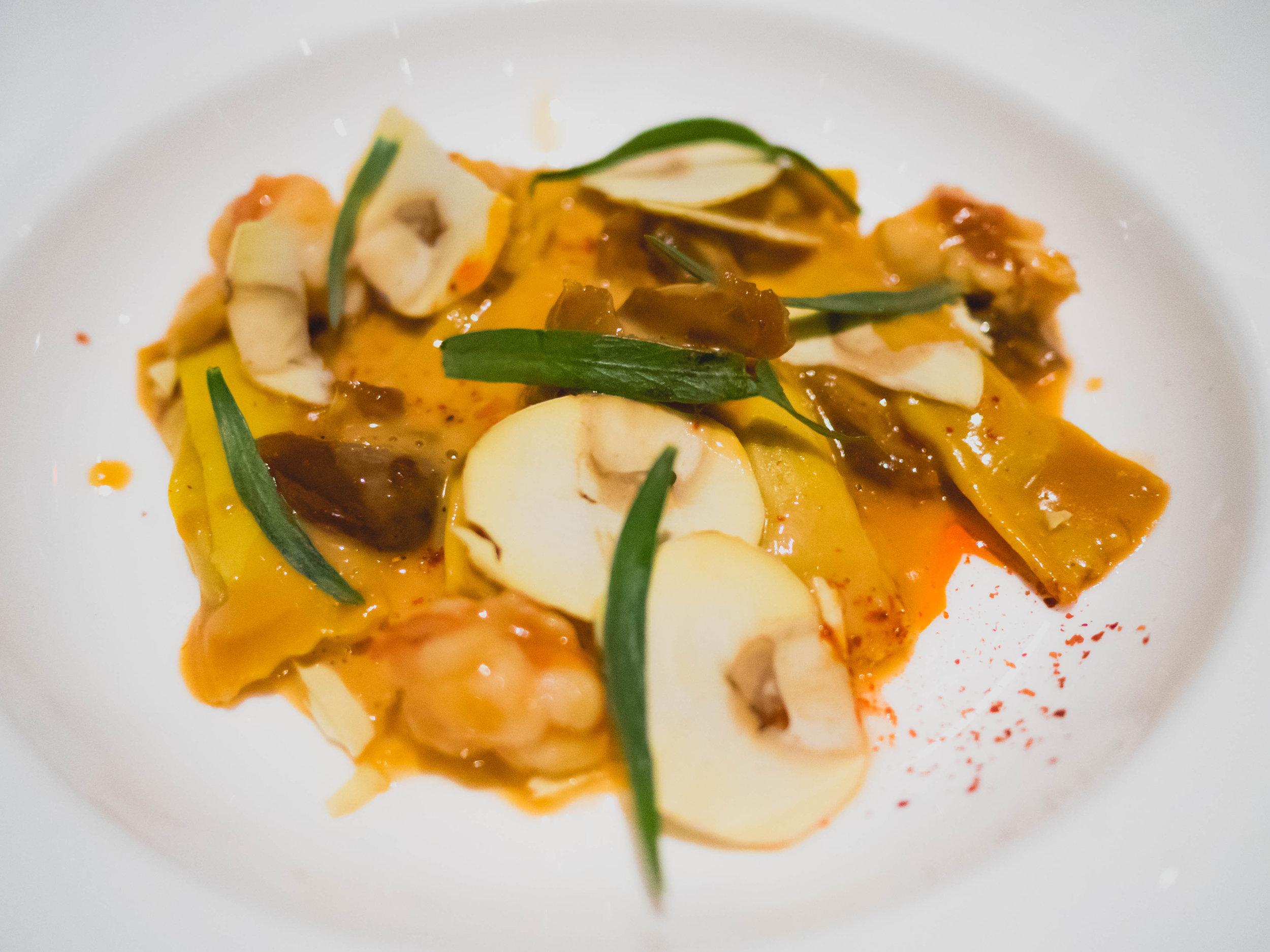 second course:  chestnut agnolotti , marscarpone, lobster, tarragon.