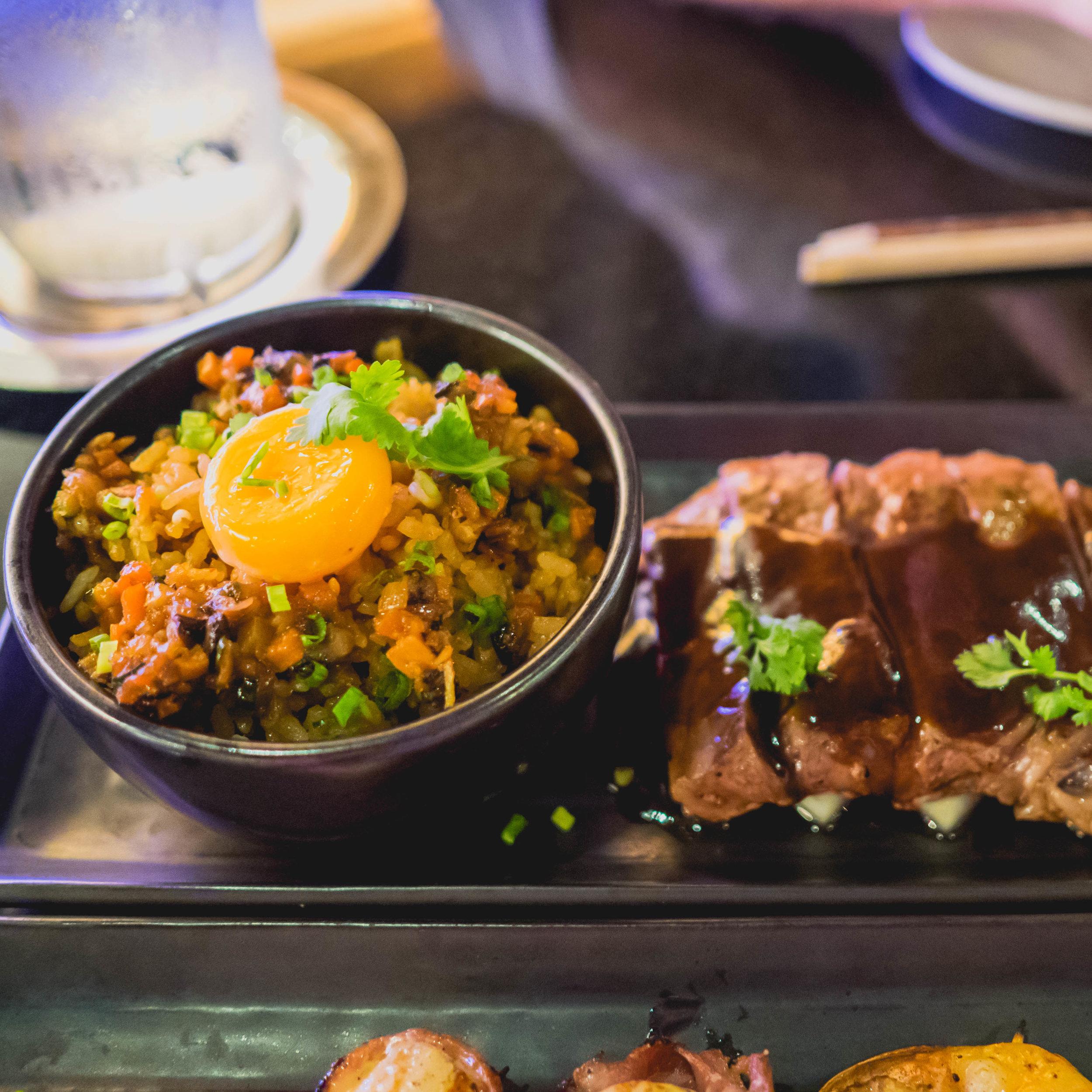 korean fried rice and wagyu beef soy caramel  at umami.