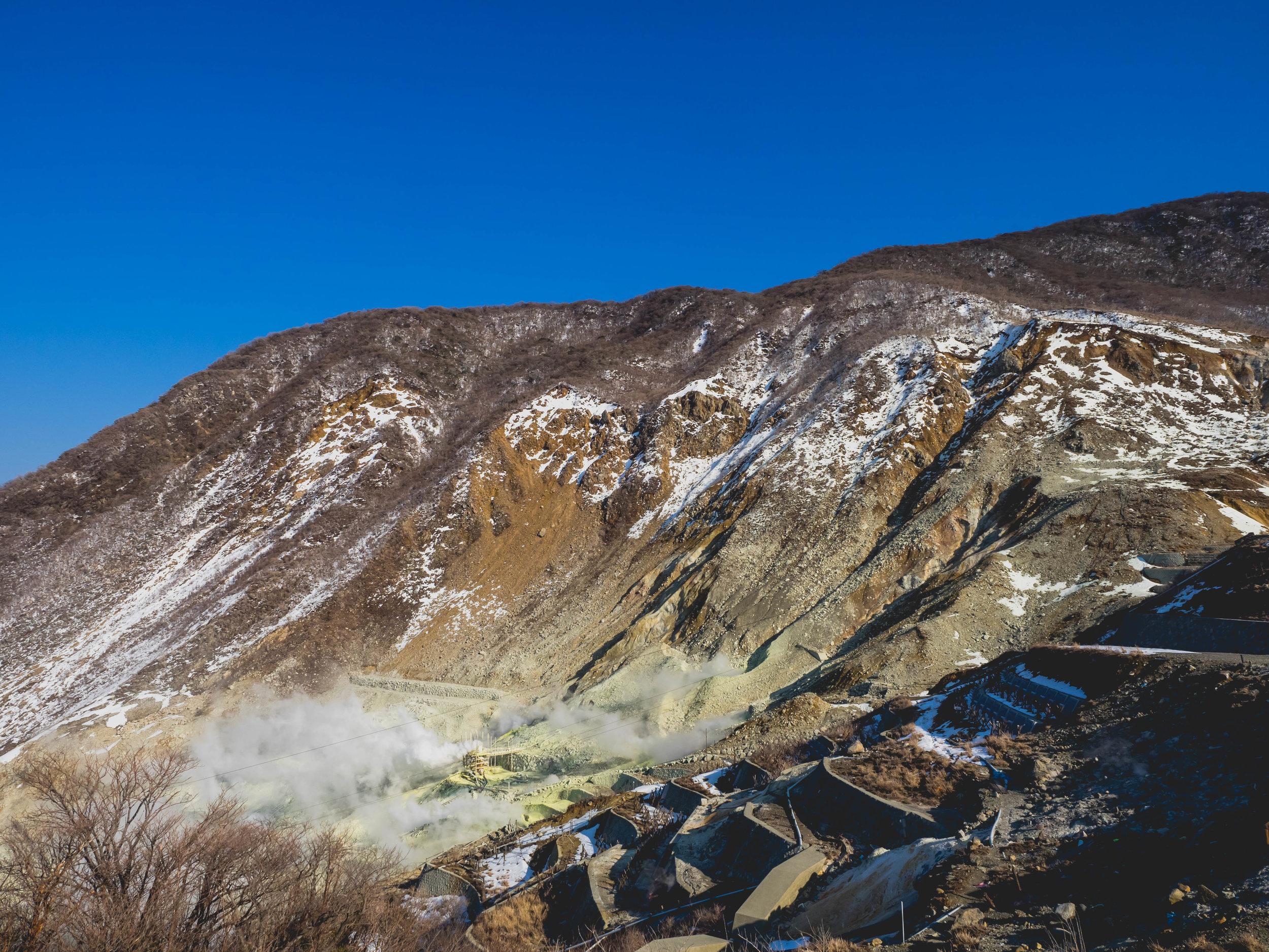 volcanic activity at owakudani.