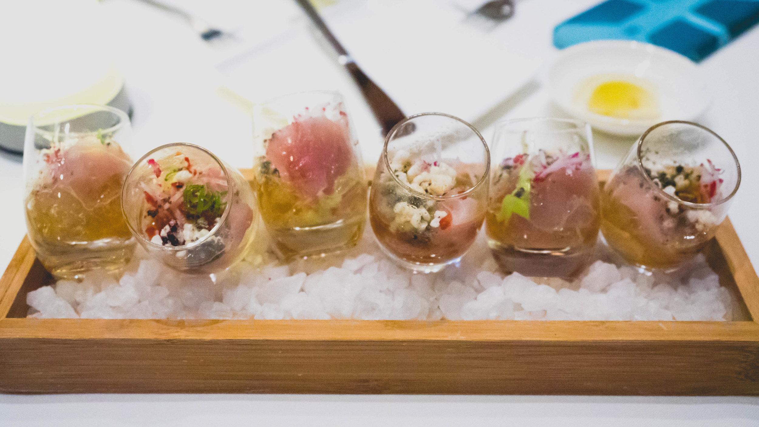 hamachi shots 3.0 : dashi, avocado, fresno, ponzu, negi, arare.
