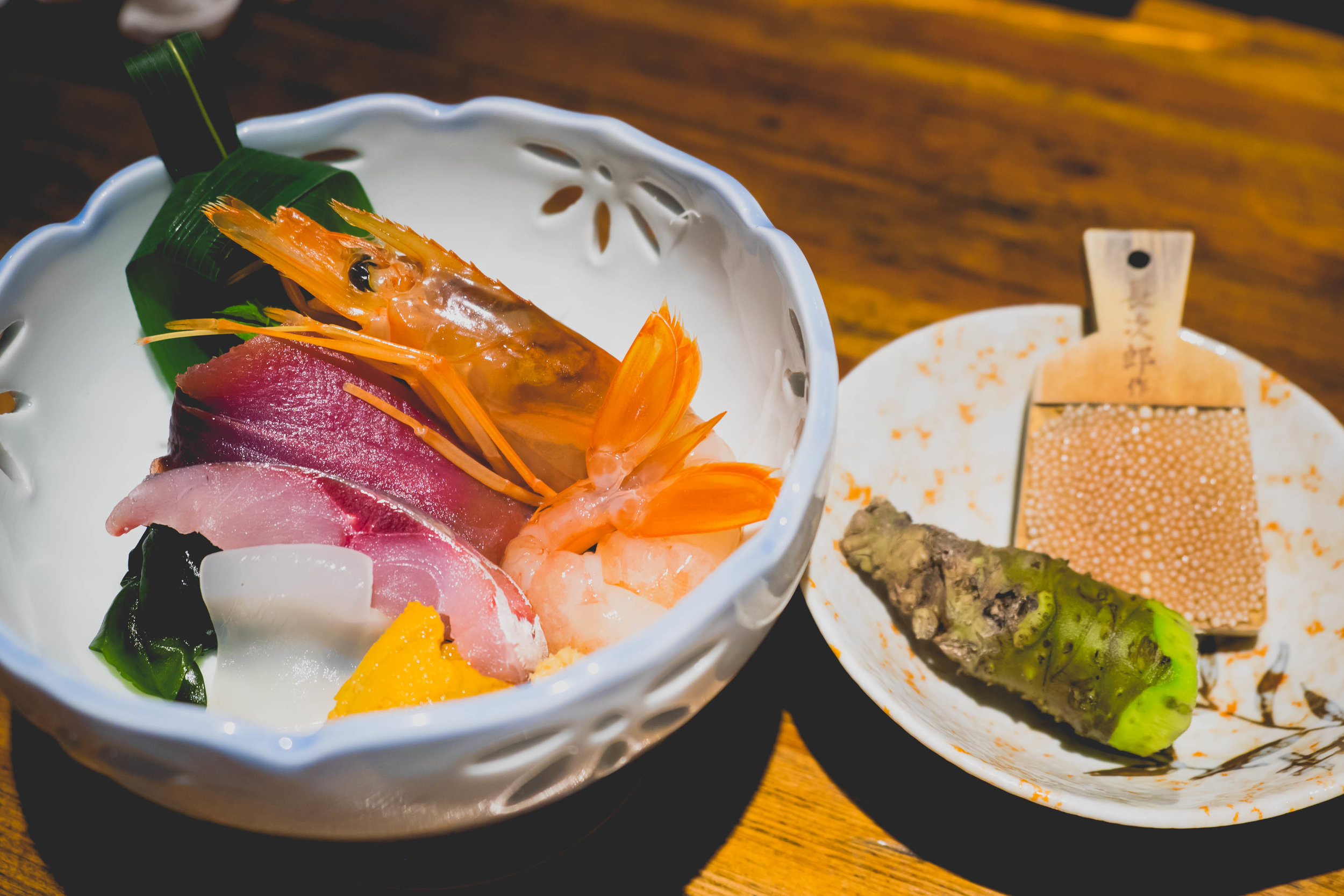 assortment of sashimi with grind-your-own wasabi.
