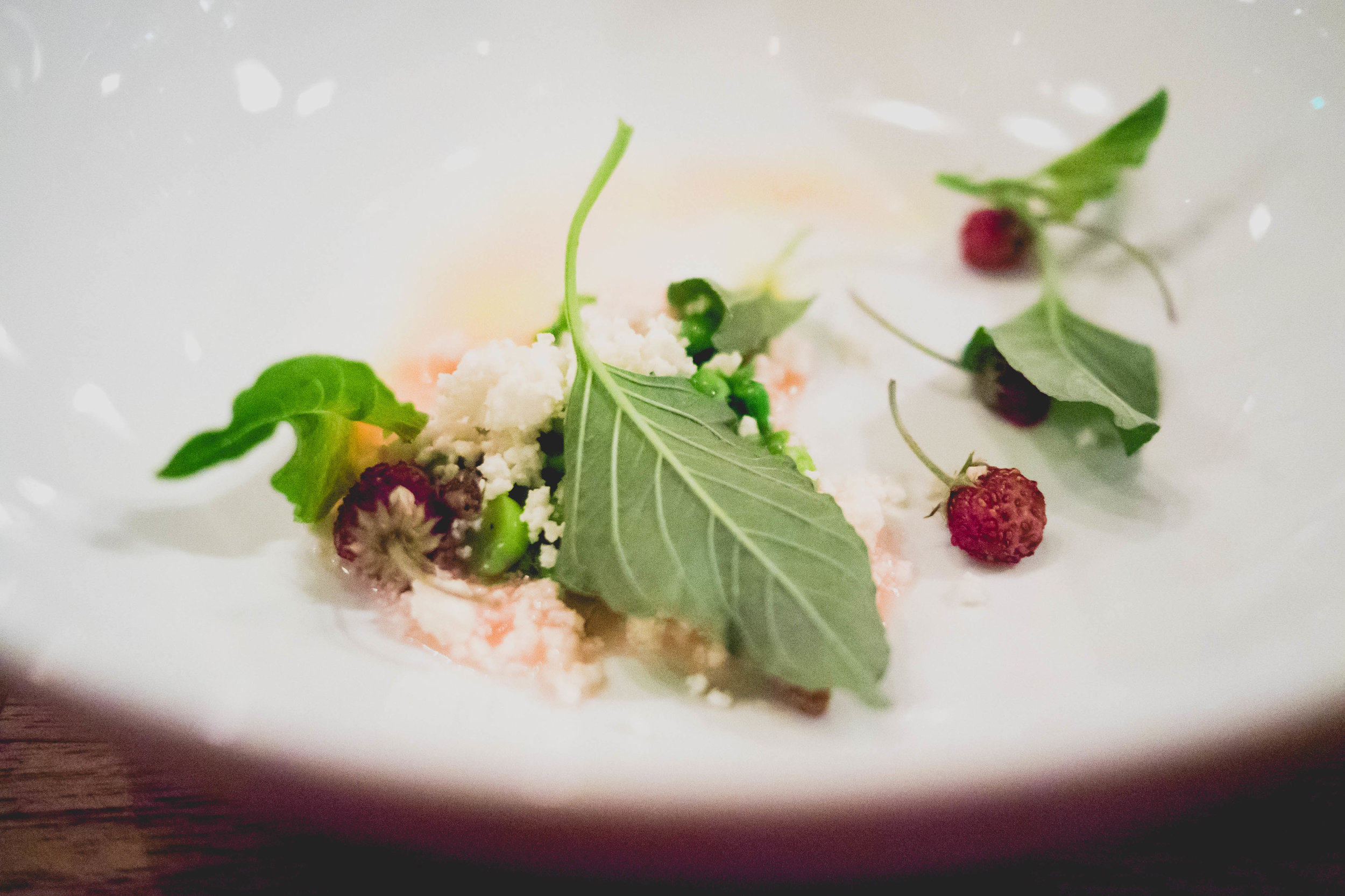 peas, mint, amaranth, curds.