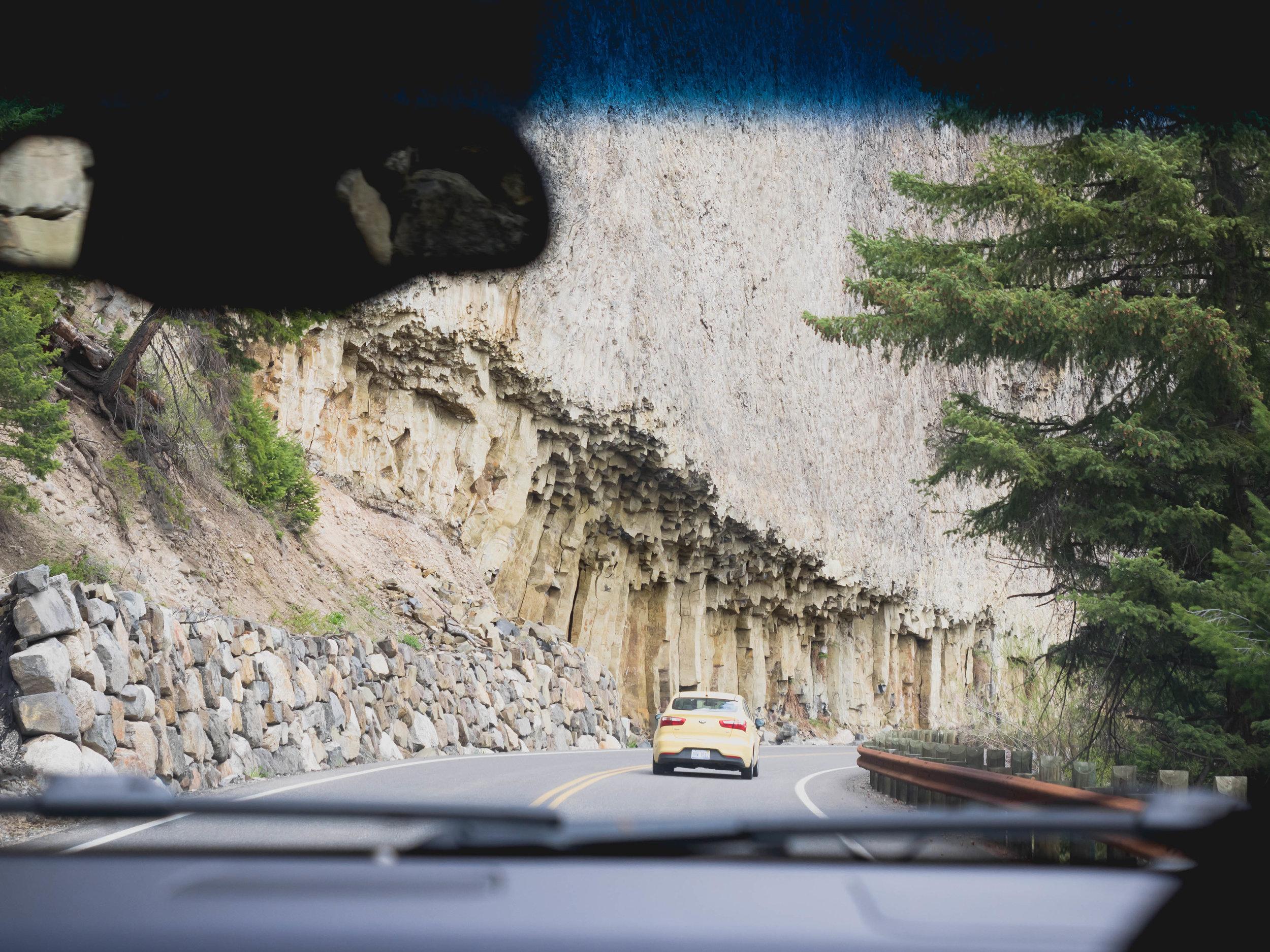 driving past giant basalt columns.