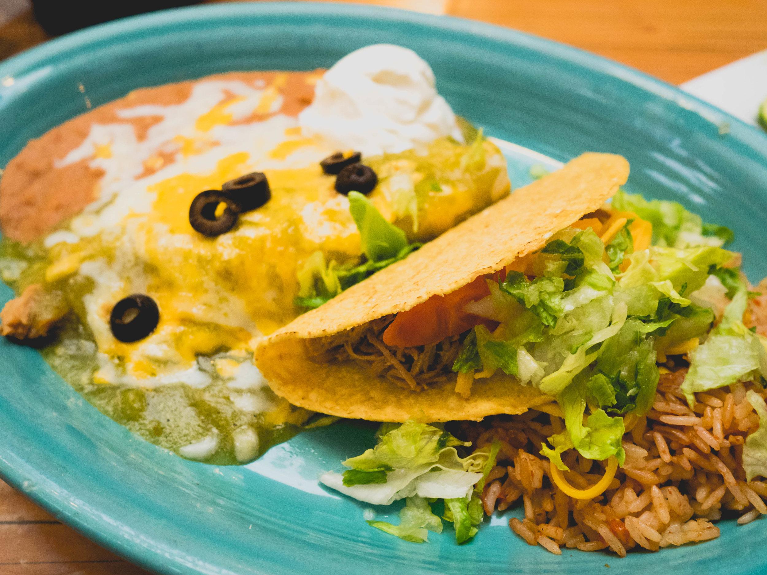 taco enchilada plate.