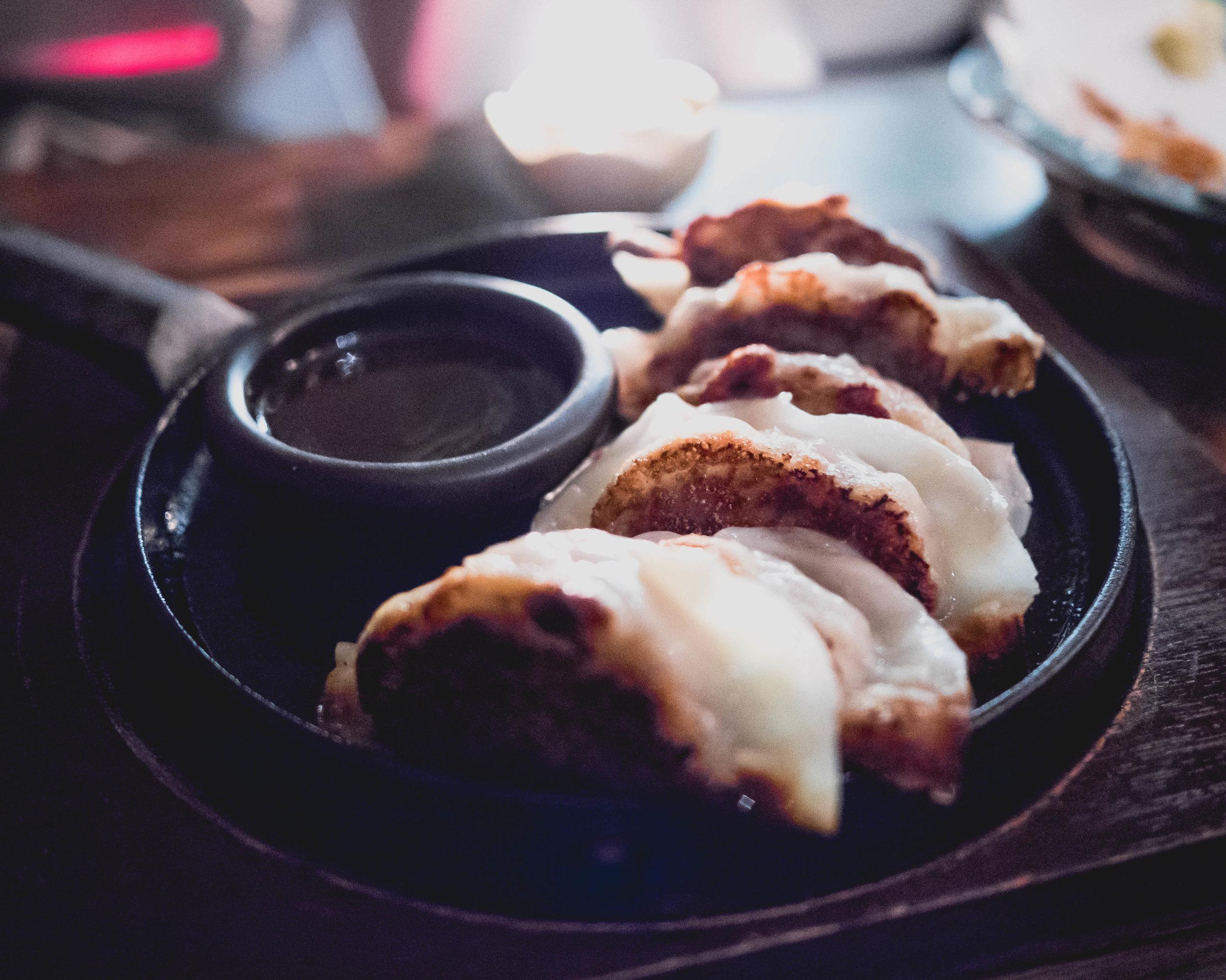 gyoza : pan-fried pork dumplings, aged riesling vinegar.