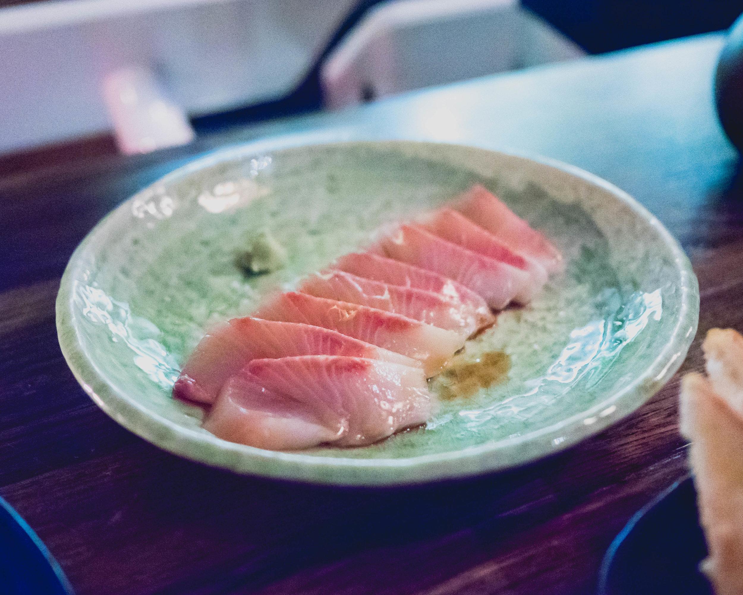 hiramasa sashimi  with aged soy.