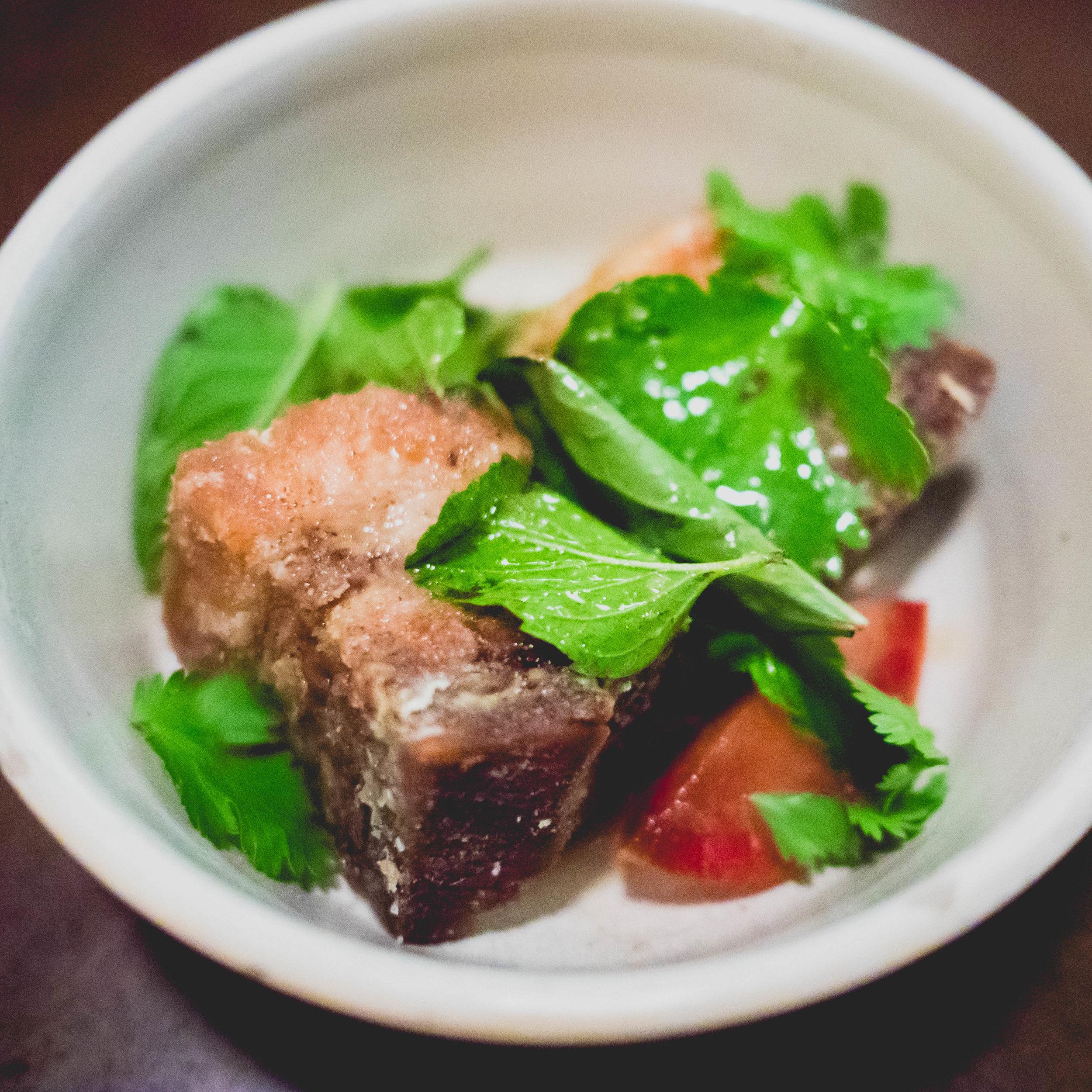pork belly & pluot salad .