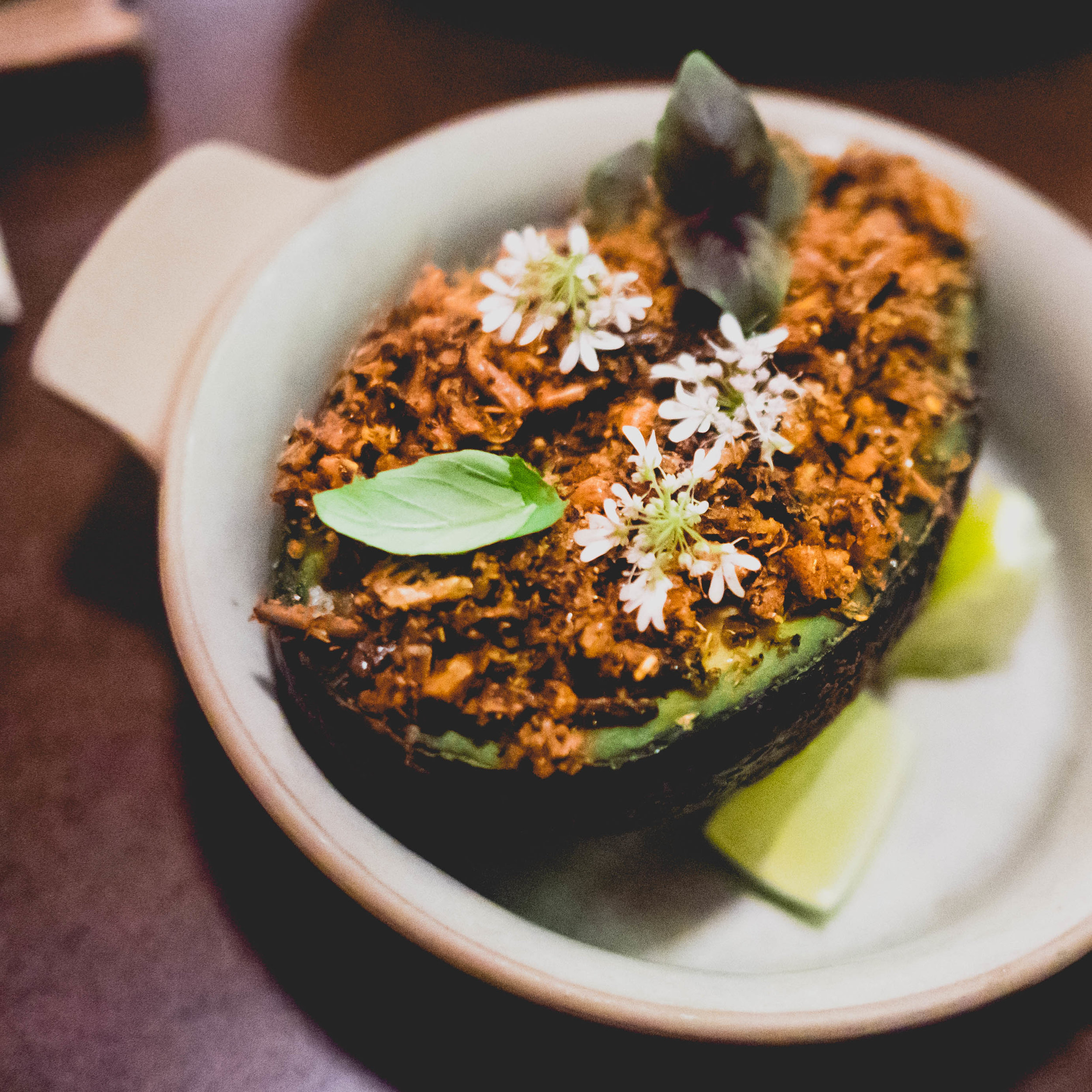 smoked brokaw avocado , charred allium, wild rice.