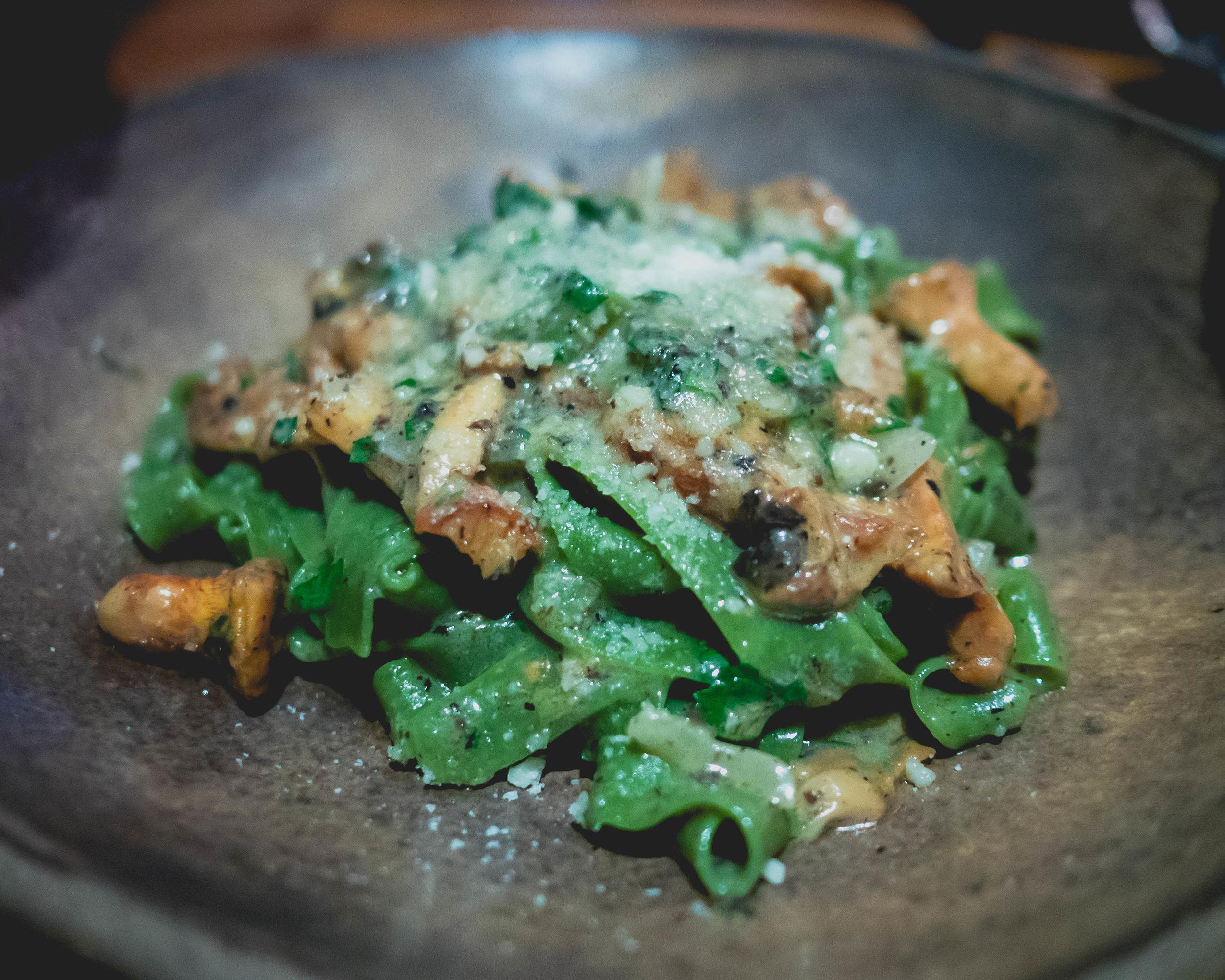 spinach tagliatelle , tartufata, wild porcini mushrooms, spring onions, parsley.