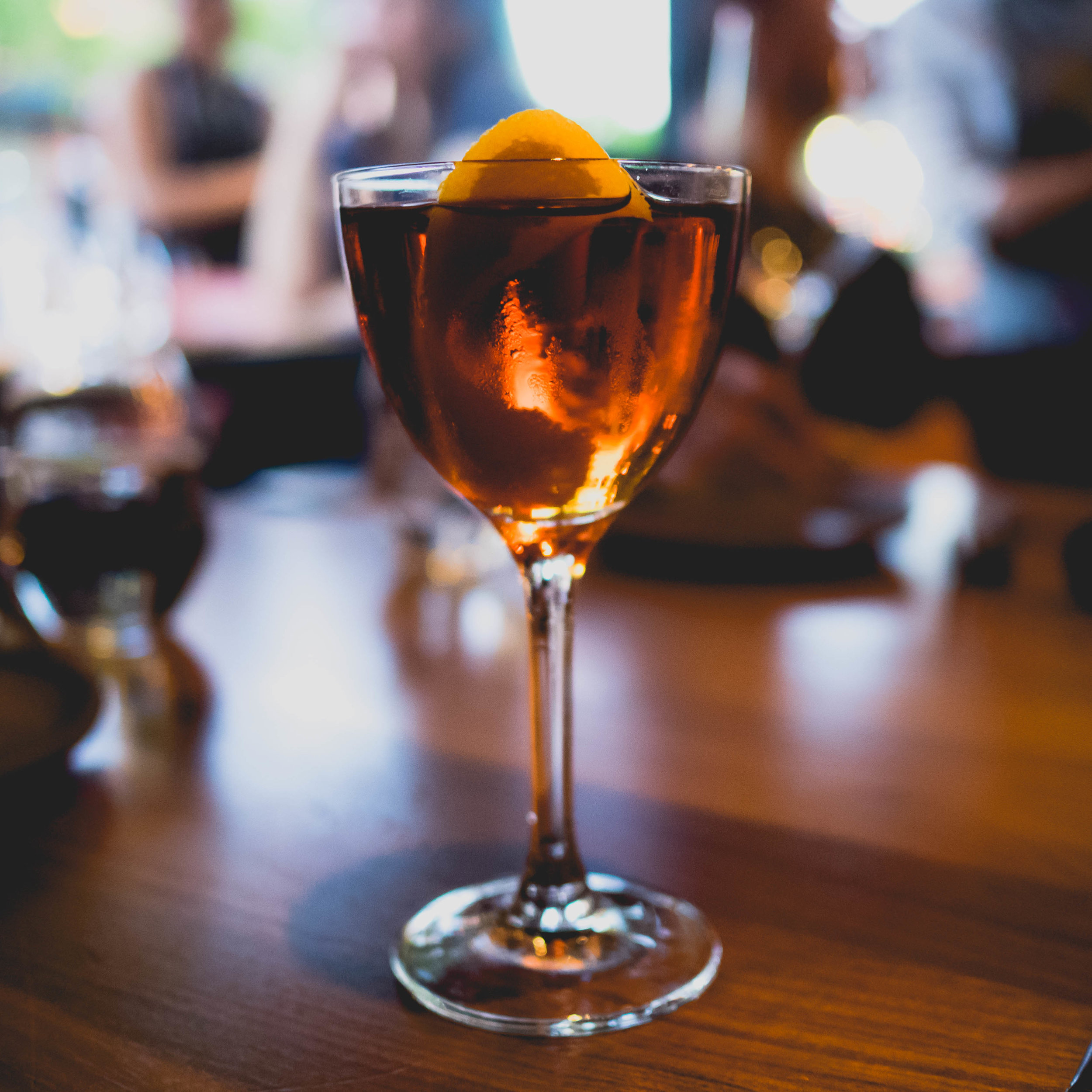 strozzino : tequila reposado, cynar '70', sweet vermouth, maraschino liqueur, orange twist.