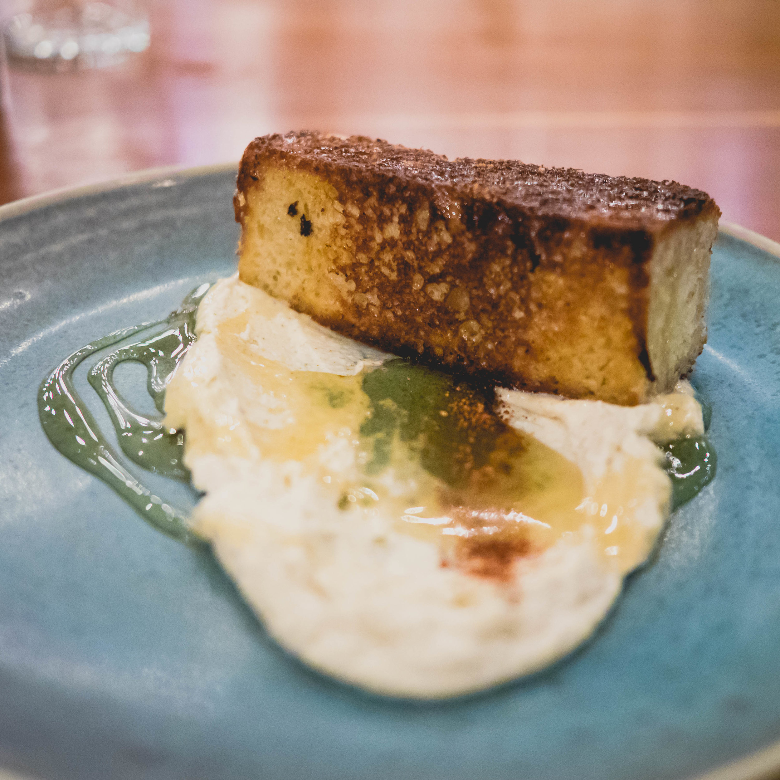 toasted brioche , local goat cheese, organic honey.