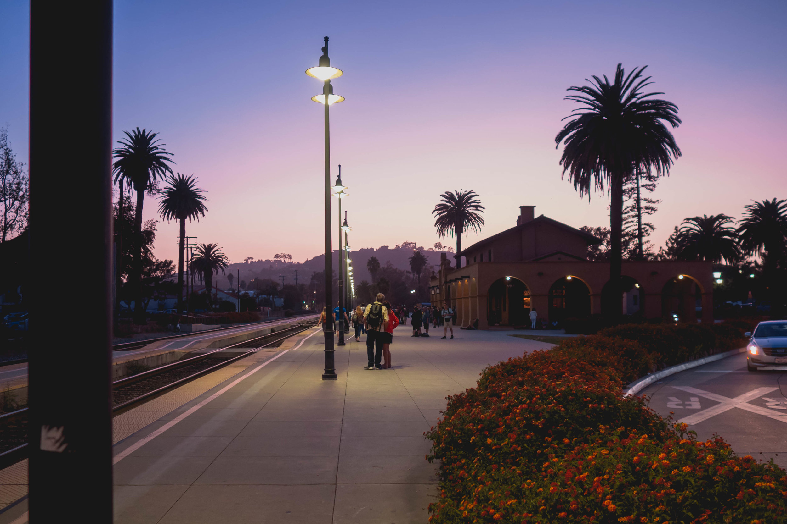 santa barbara amtrak station at sunset.