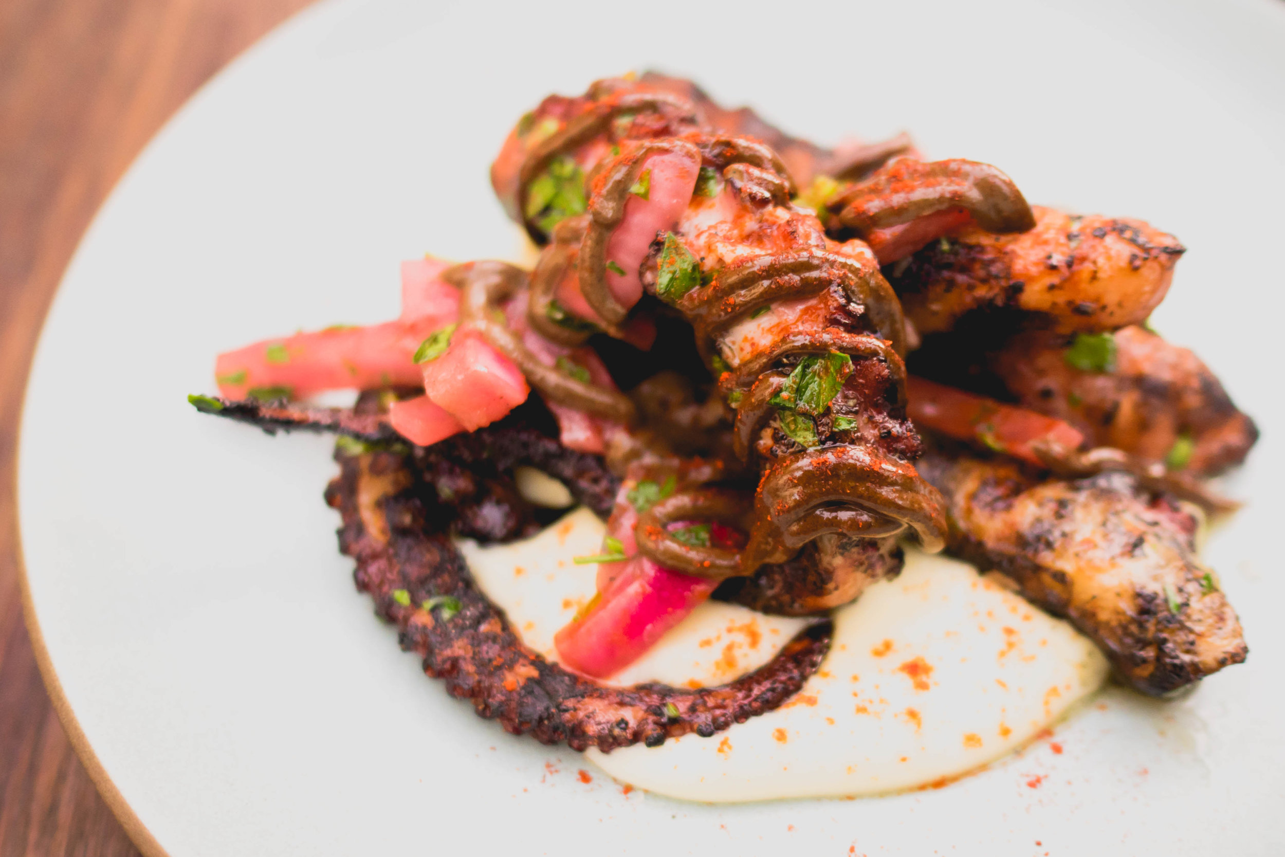 pulpo : spanish octopus, black garlic aioli, potato, pickled red onion.