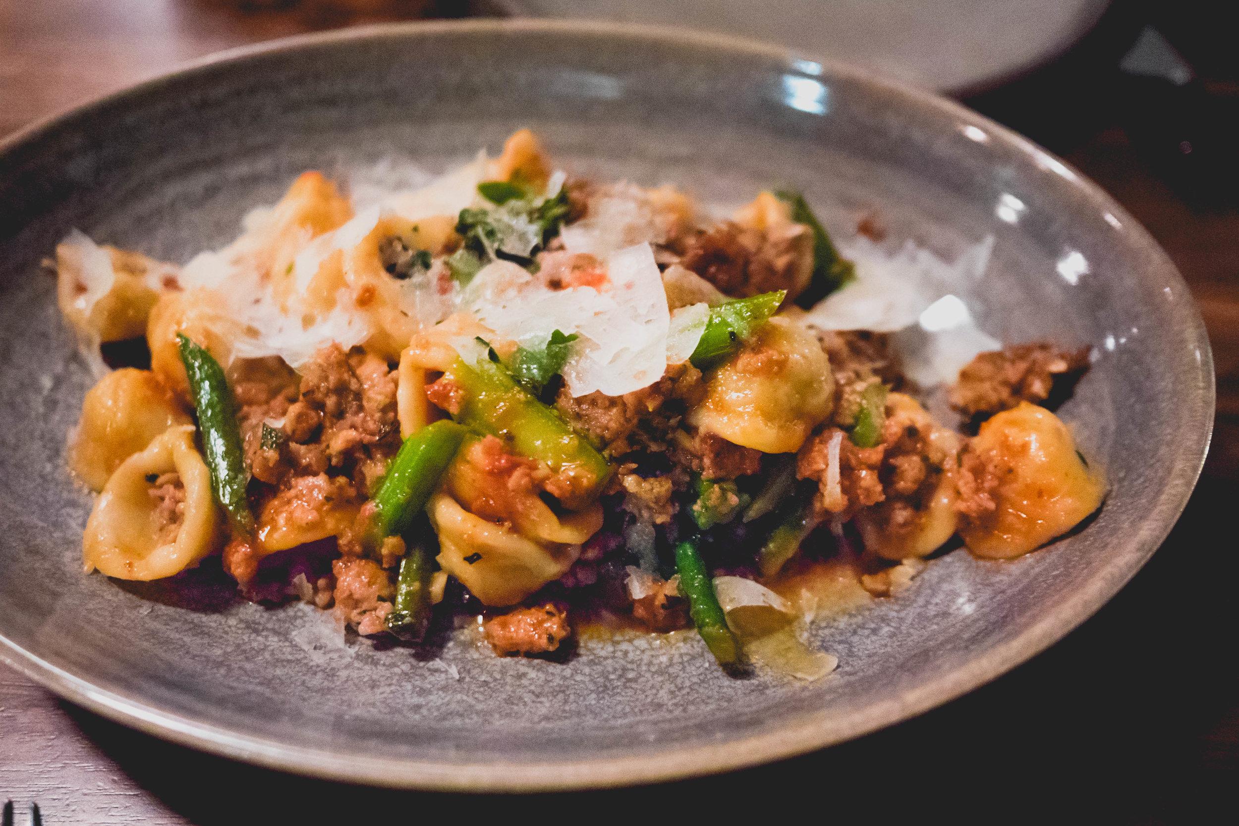 orecchiette : sausage sugo, broccoli di cicco, peperoncino, canestrato.
