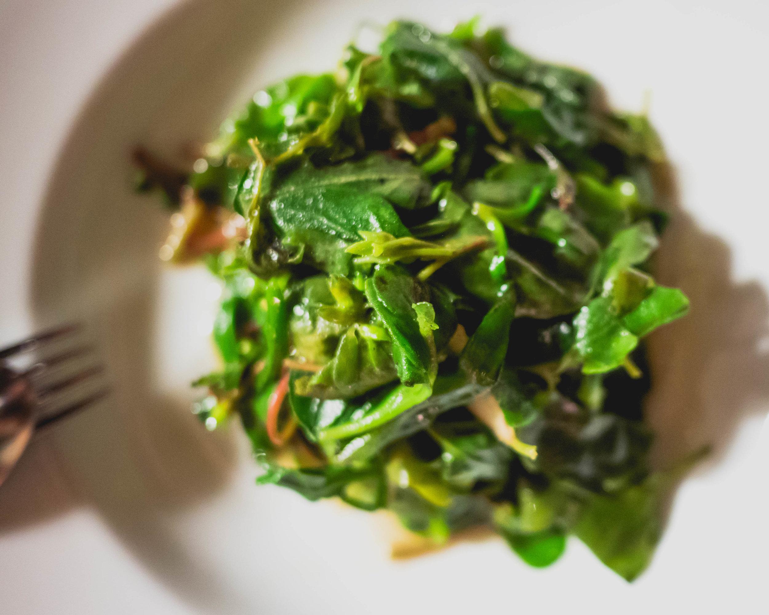stir-fried australian native greens  with ginger & shiro shoyo.