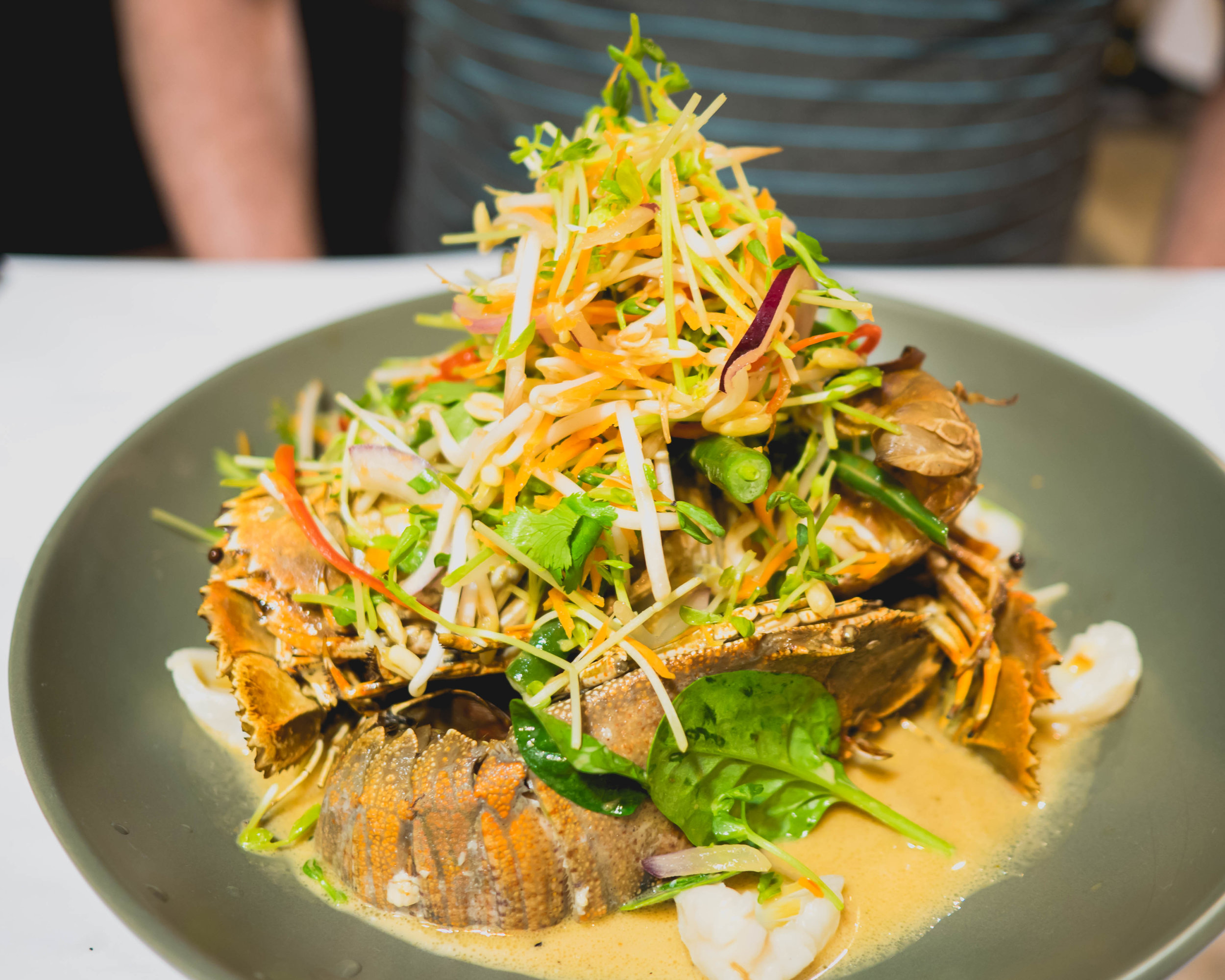 bug tails  with panang curry, spinach, green beans, lychee, coriander.