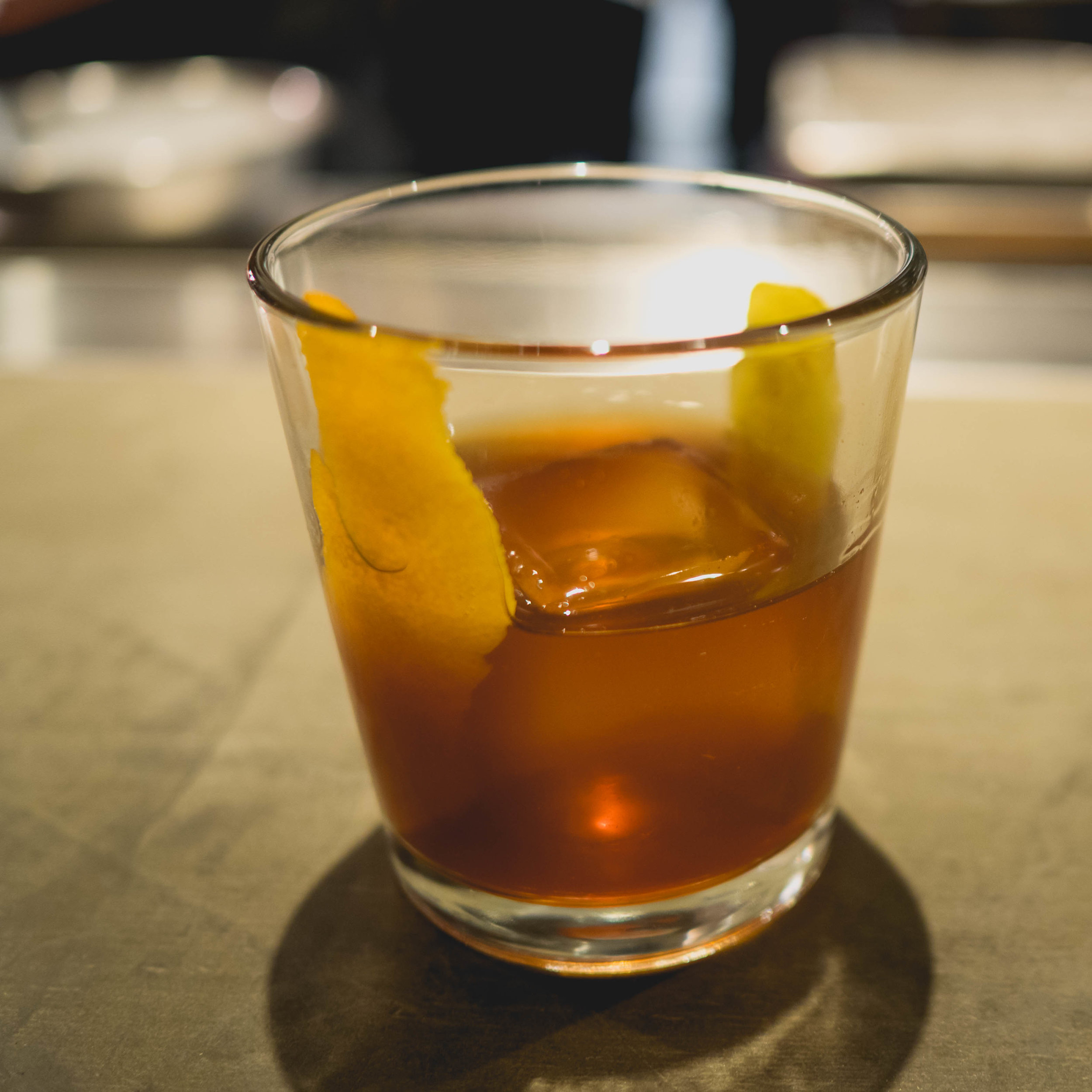 bonji old fashioned:  bourbon, black sugar, bitters.