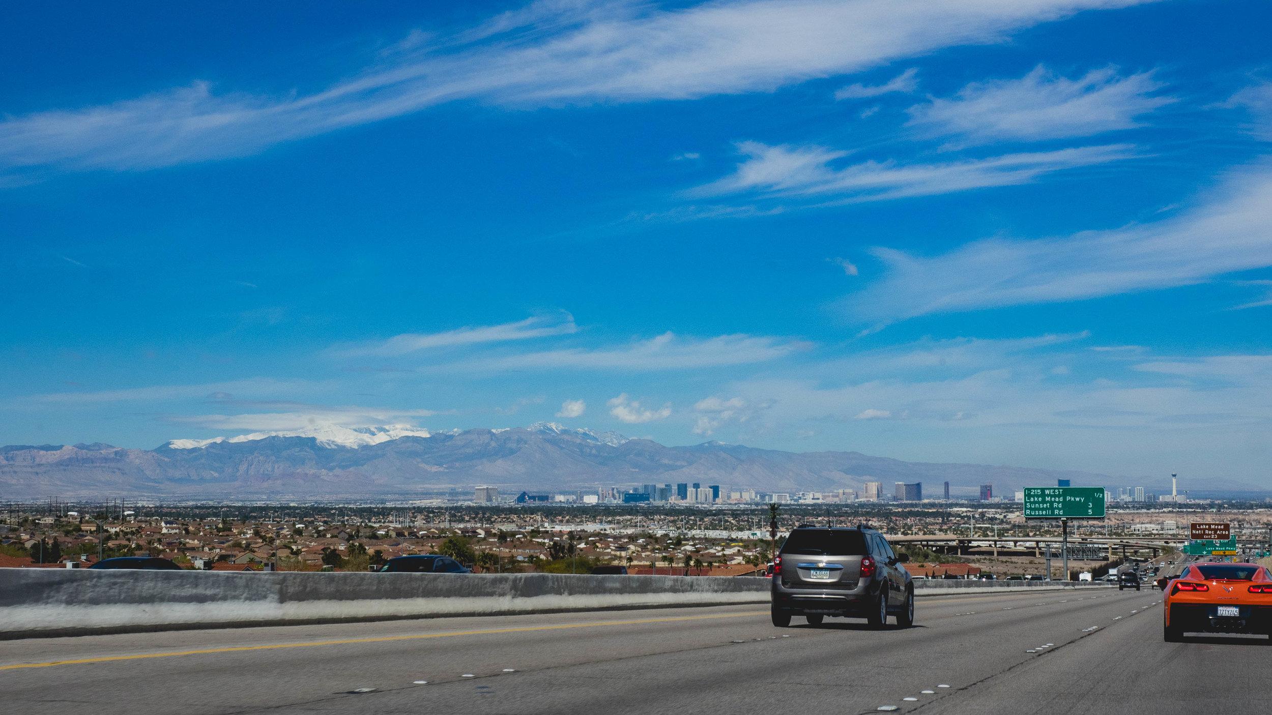 heading back toward the las vegas strip.