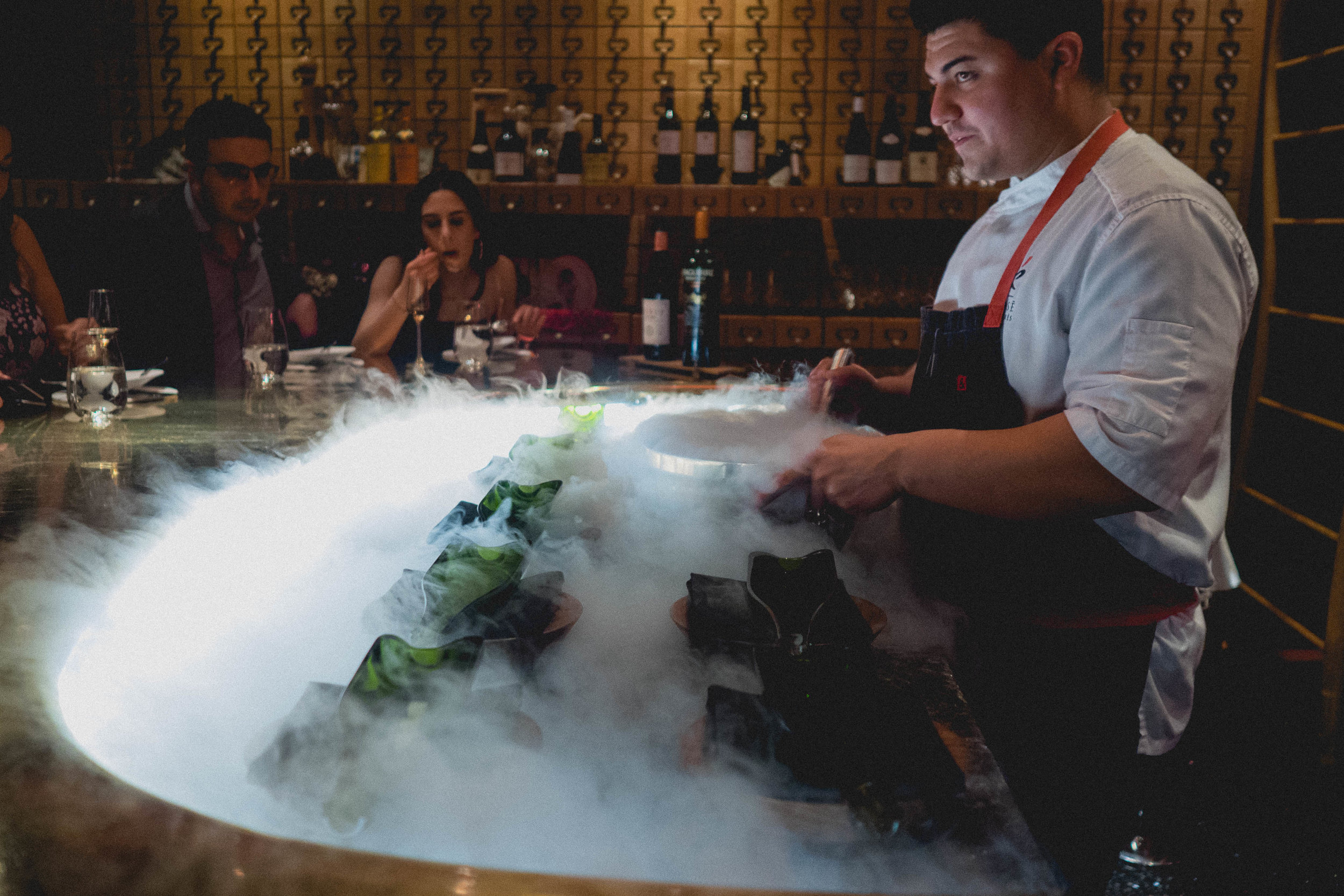 dinner theatrics with dry ice.