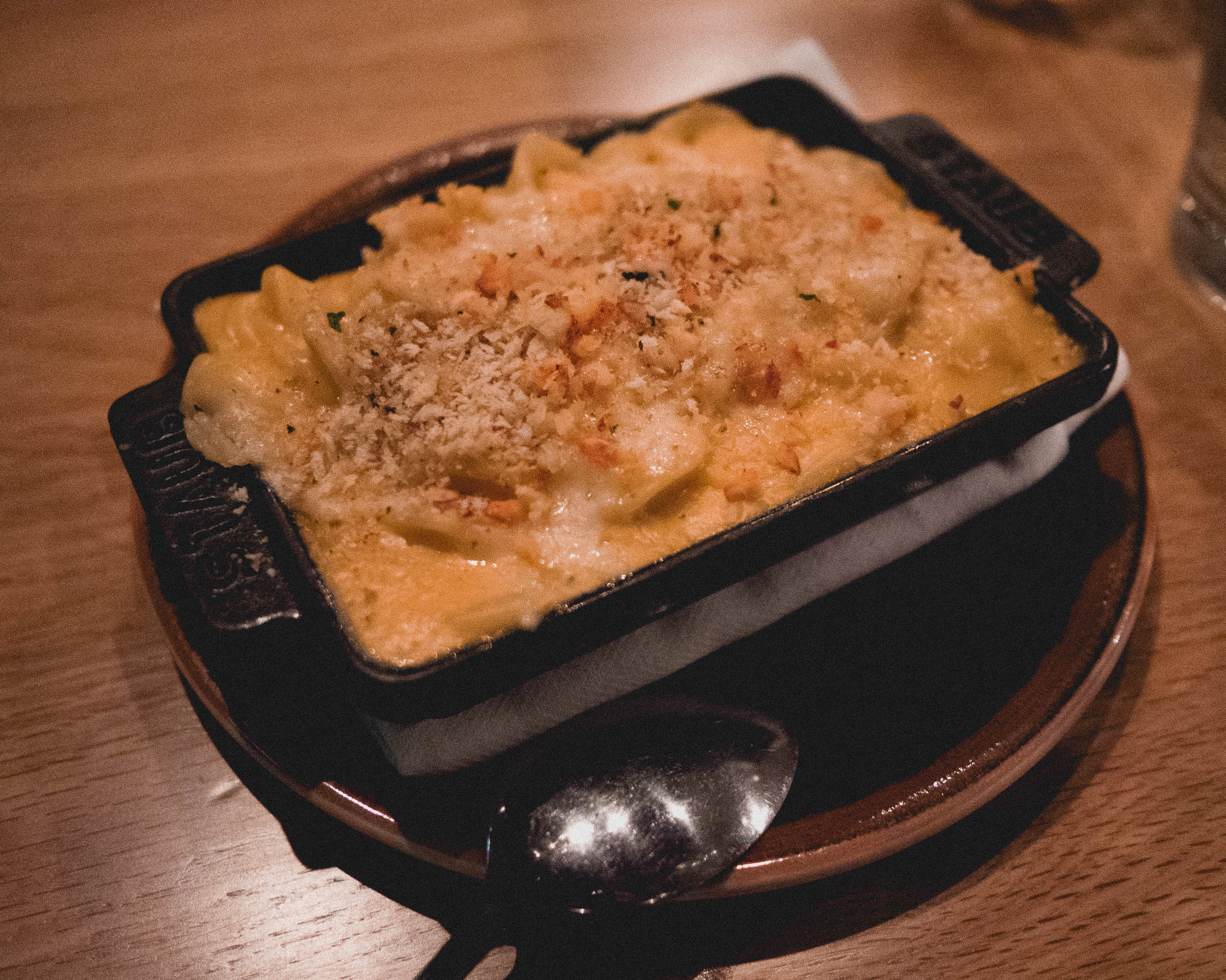 lobster mac & cheese  with pimento cheese, chives, bread crumbs.