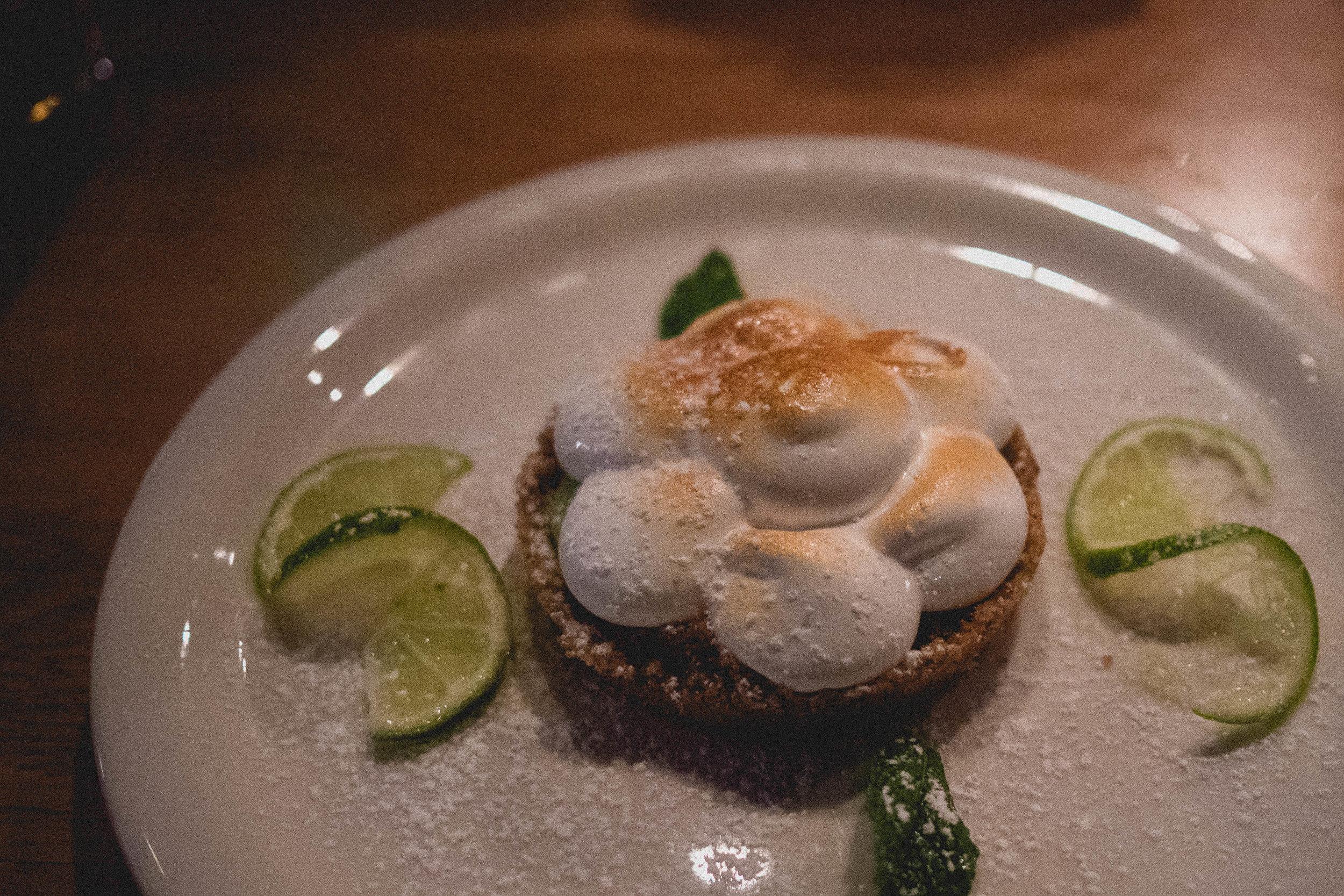key lime pie , lime infused brown sugar, toasted meringue.