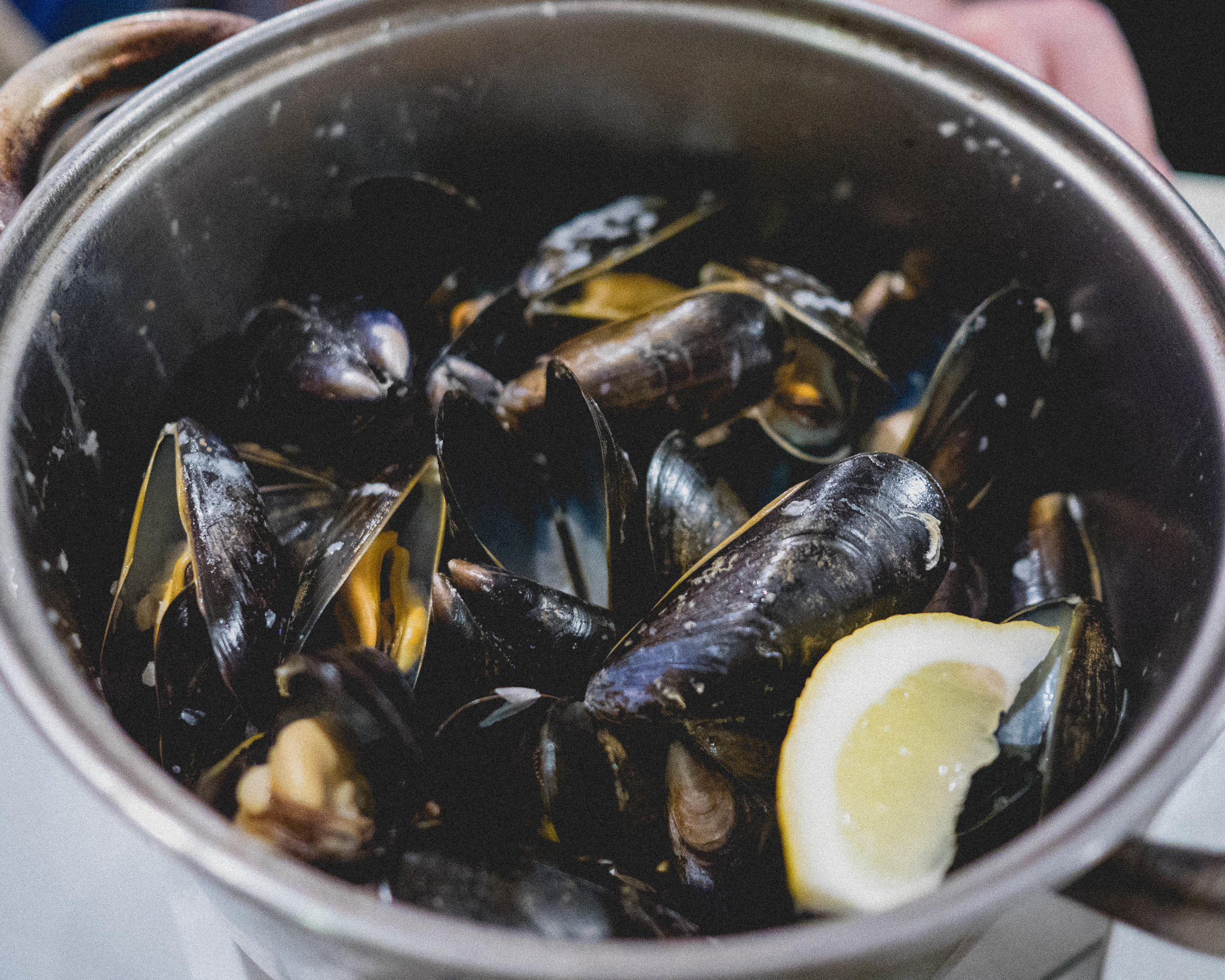pot of mussels, white wine, garlic, shallots, cream.