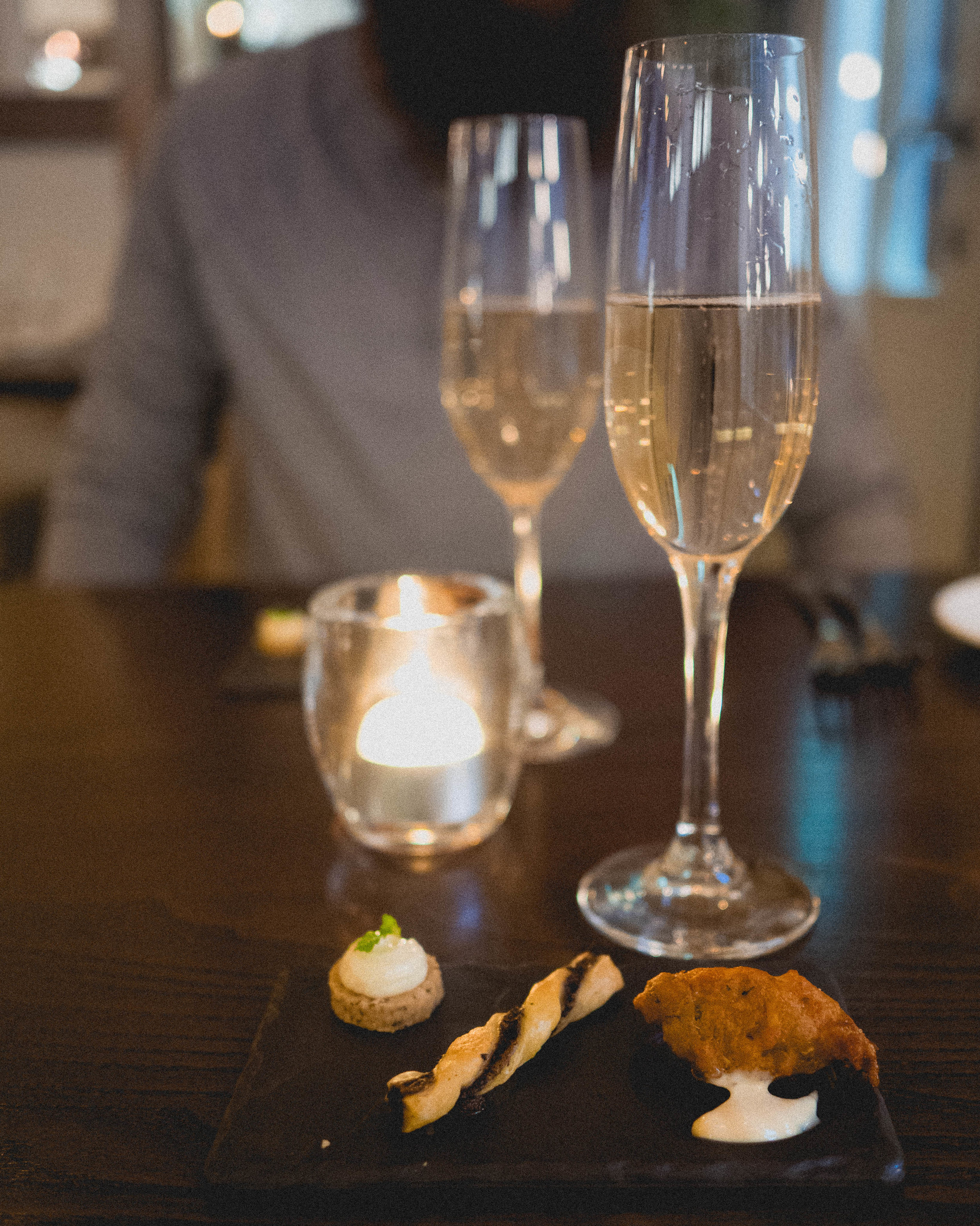 bubbles and canapes.
