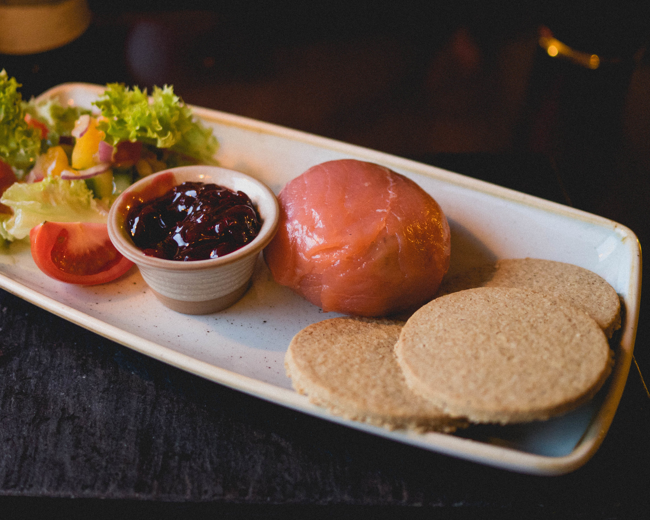 hebridean seafood parcel : smoked mackerel pate wrapped in cold smoked salmon, with beetroot and horseradish chutney.
