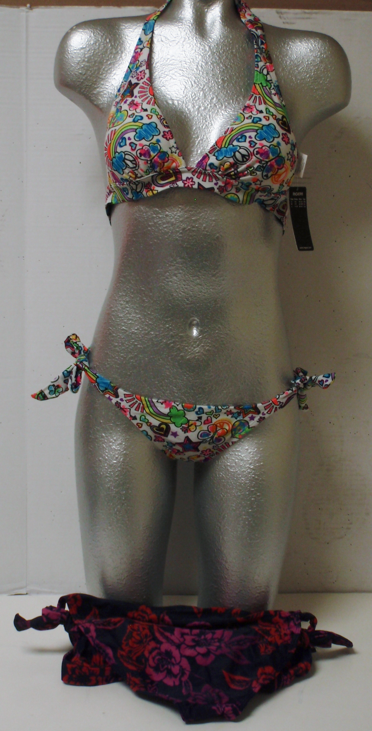 SwimSuit 2 Piece- Dark Blue With Rose / White With Color Art