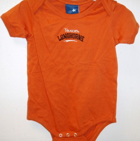LONGHORNS: ONESIE TEXAS LONGHORNS ORANGE- SIZES- 18M & 24M ONLY- LIMITED QUANTITIES AVAILABLE