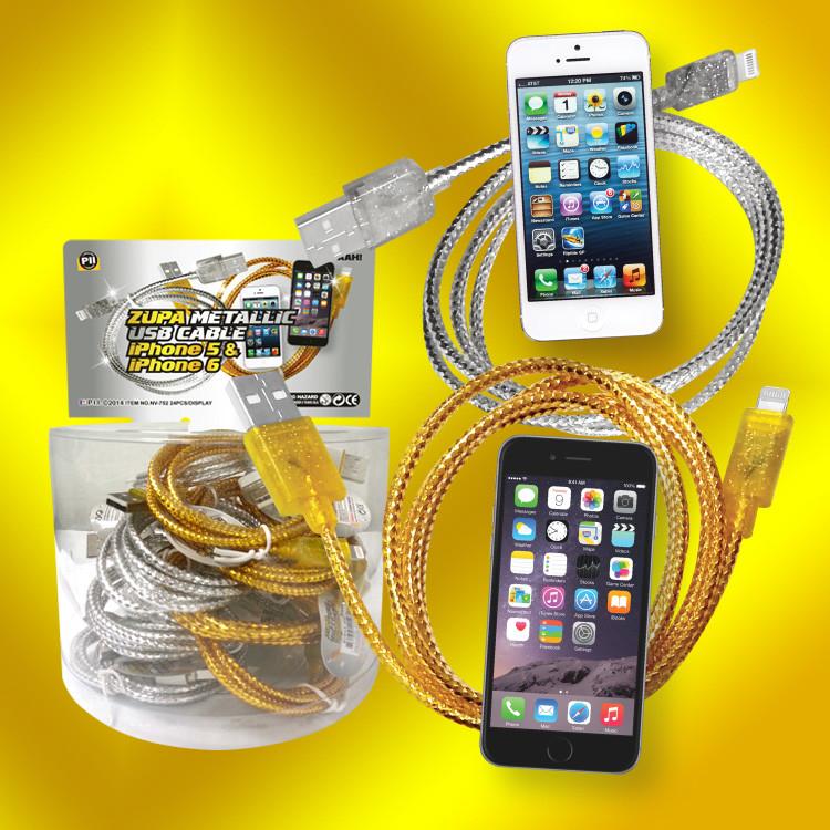 Metallic I-phone 5 & 6 charge cords - 24 per display