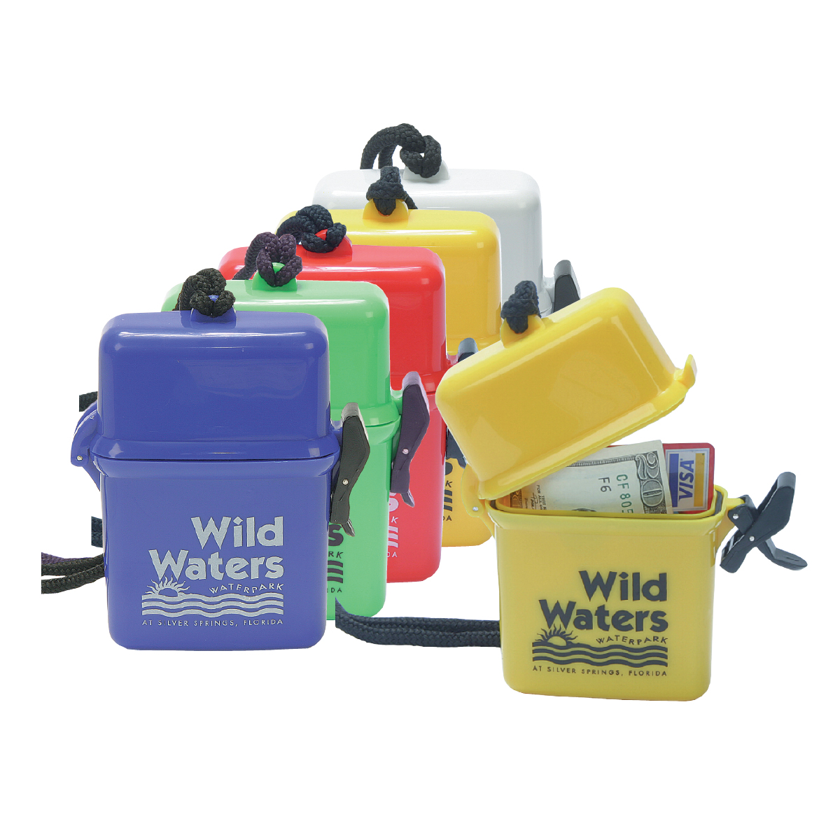 """WaterBoxes : Custom Logo With 300pc Min. Available in Blue, Green, Red, Yellow, White 3"""" x 4.5"""" x 1"""""""