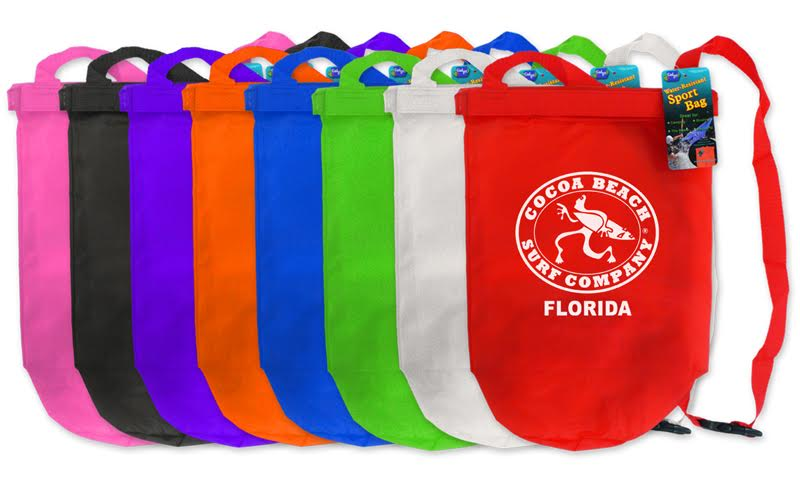 Dry Bag Sports Bag : 72 minimum $6.00 one color, One Sided Print Only in Black or White ink Colors Available - pink, black, purple, orange, blue, green, white, red